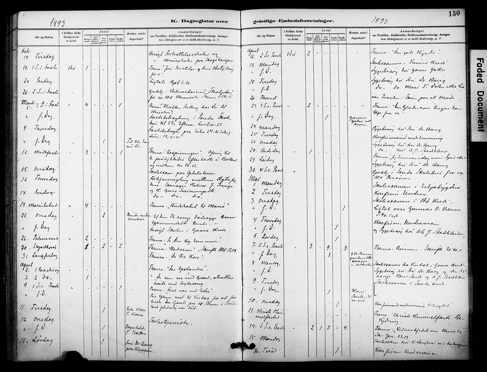 SAKO, Bø kirkebøker, F/Fa/L0011: Ministerialbok nr. 11, 1892-1900, s. 150