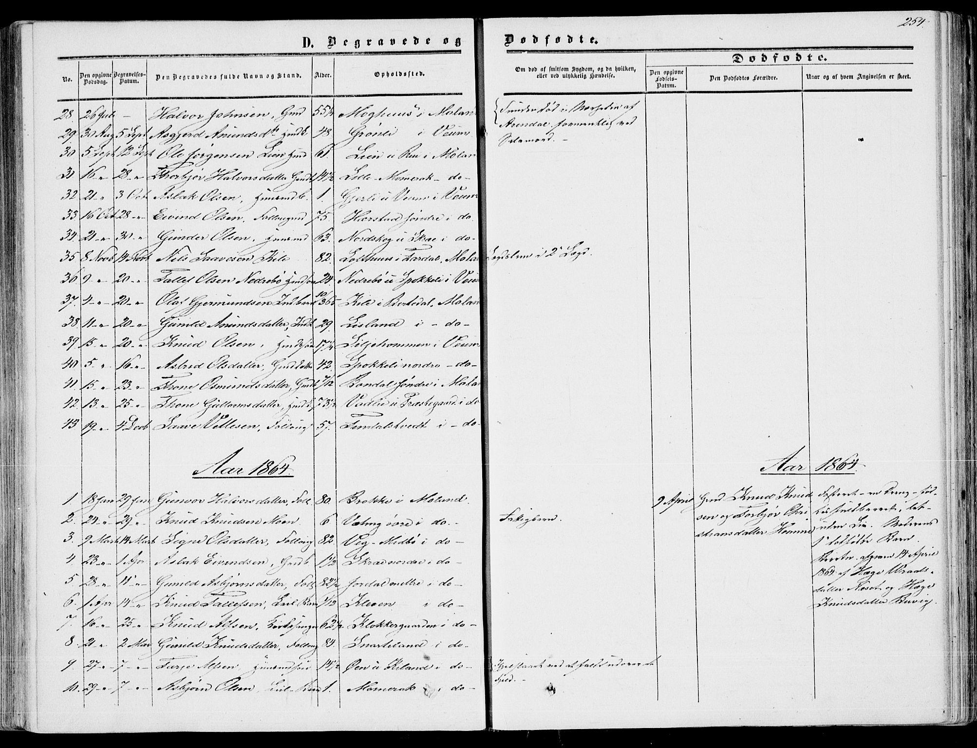SAKO, Fyresdal kirkebøker, F/Fa/L0005: Ministerialbok nr. I 5, 1855-1871, s. 254