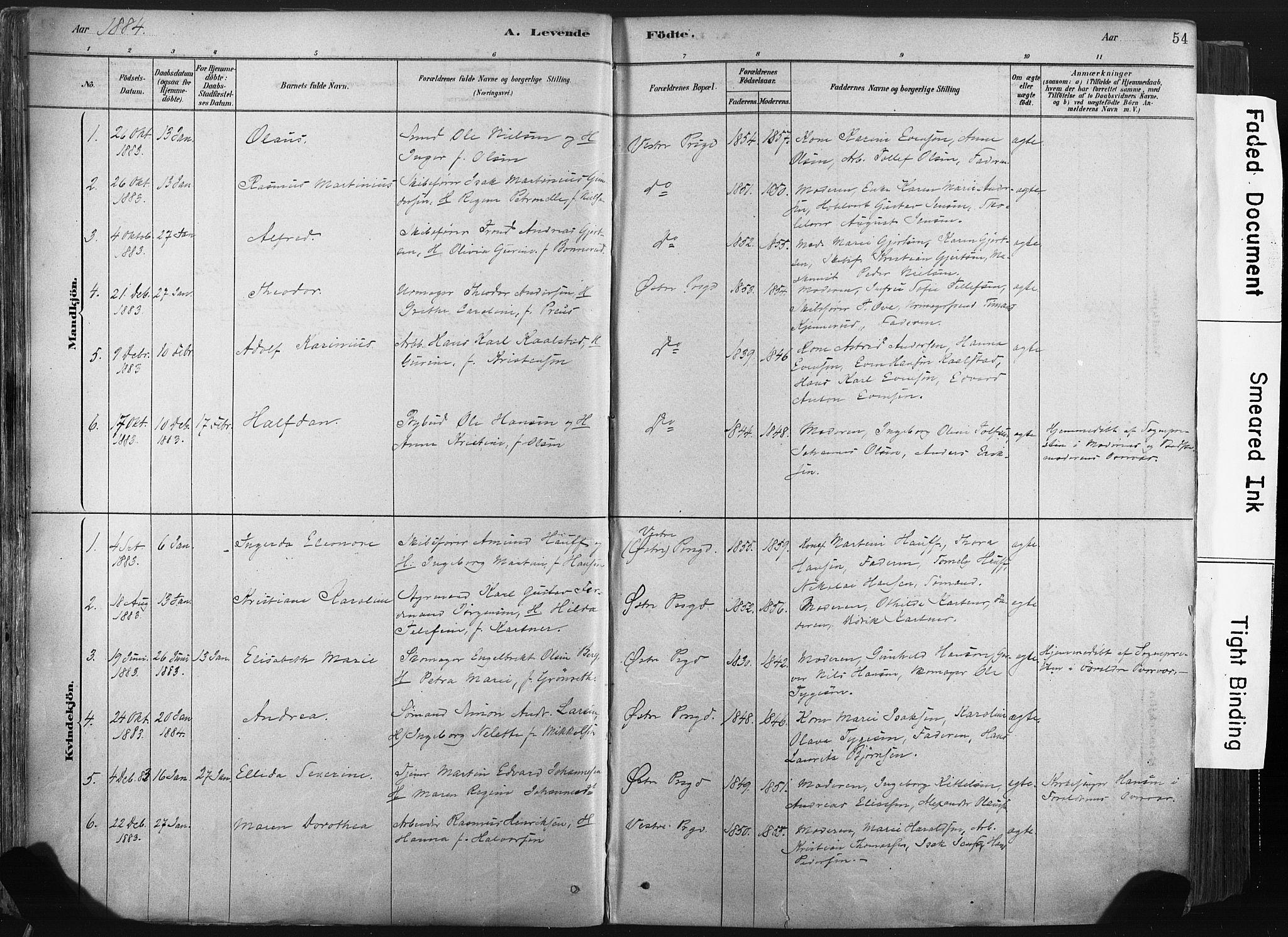 SAKO, Porsgrunn kirkebøker , F/Fa/L0008: Ministerialbok nr. 8, 1878-1895, s. 54