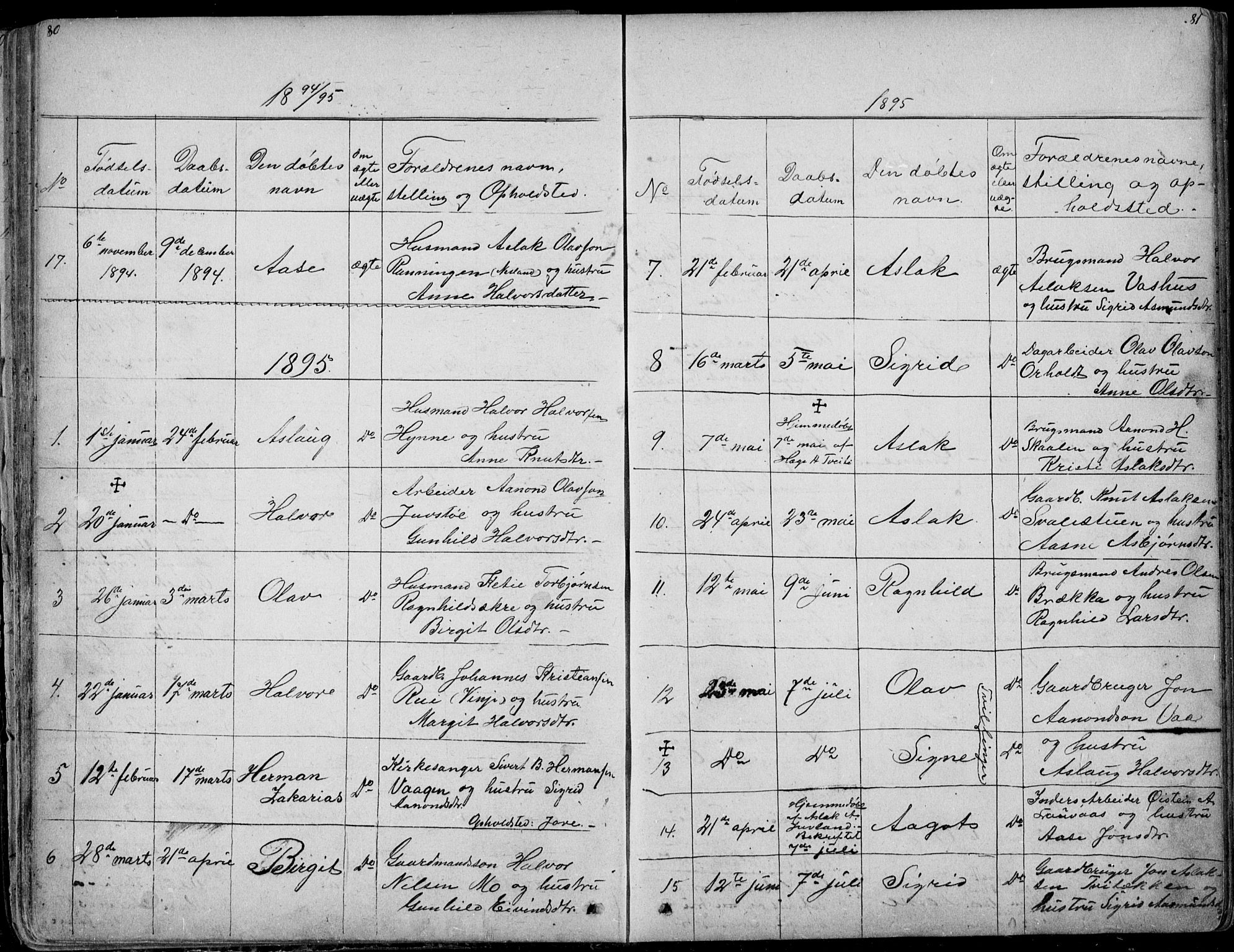 SAKO, Rauland kirkebøker, G/Ga/L0002: Klokkerbok nr. I 2, 1849-1935, s. 80-81