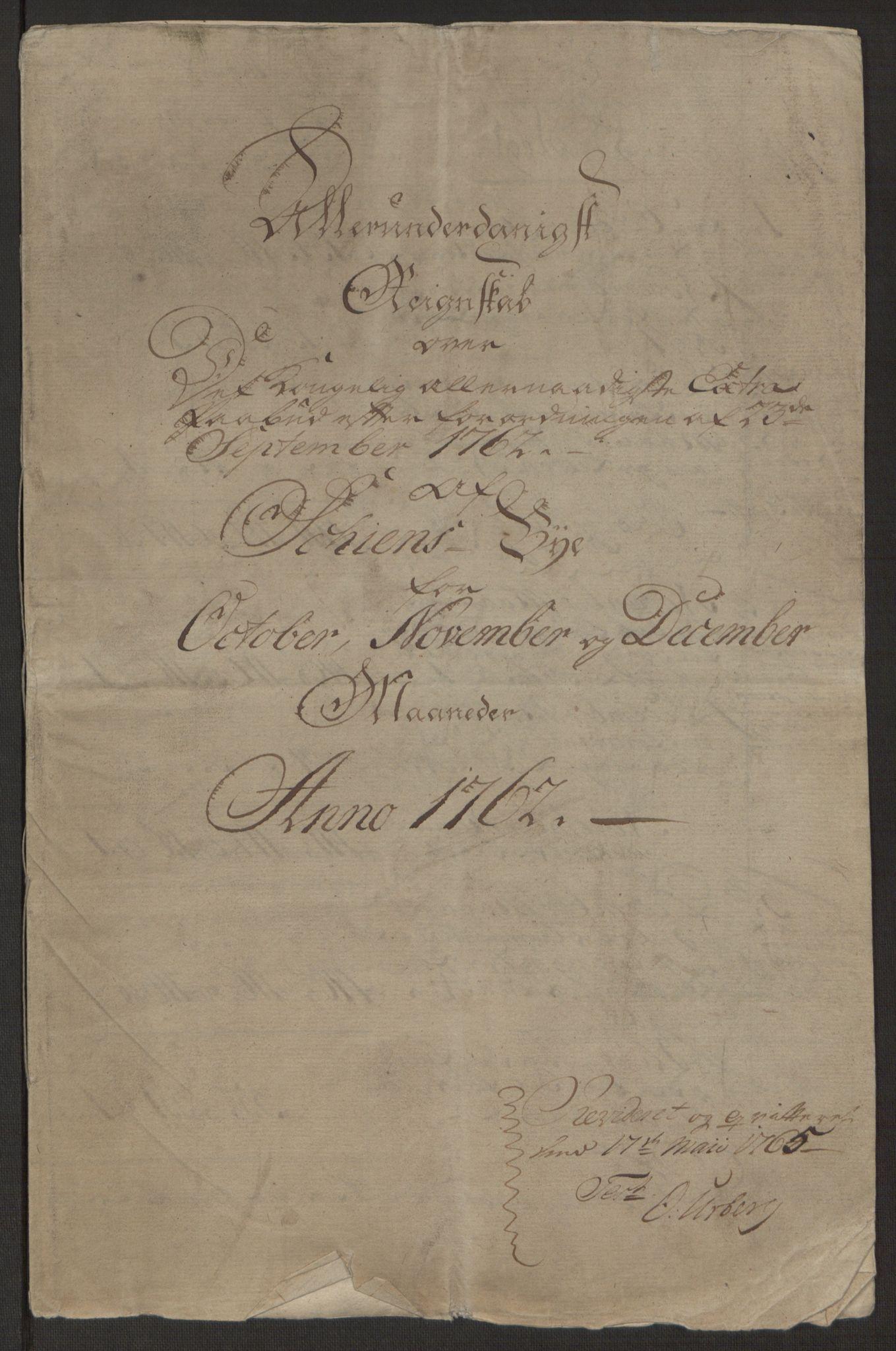 RA, Rentekammeret inntil 1814, Reviderte regnskaper, Byregnskaper, R/Rj/L0198: [J4] Kontribusjonsregnskap, 1762-1768, s. 4