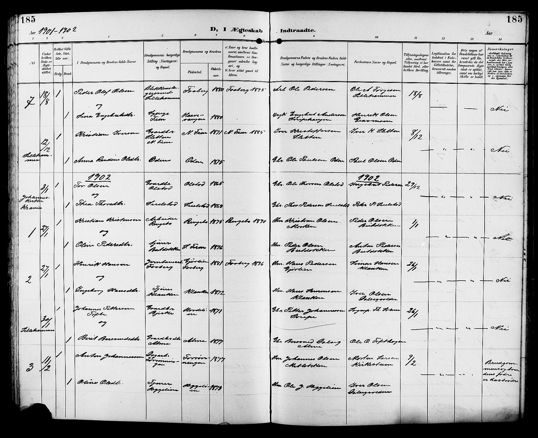 SAH, Sør-Fron prestekontor, H/Ha/Hab/L0004: Klokkerbok nr. 4, 1896-1911, s. 185