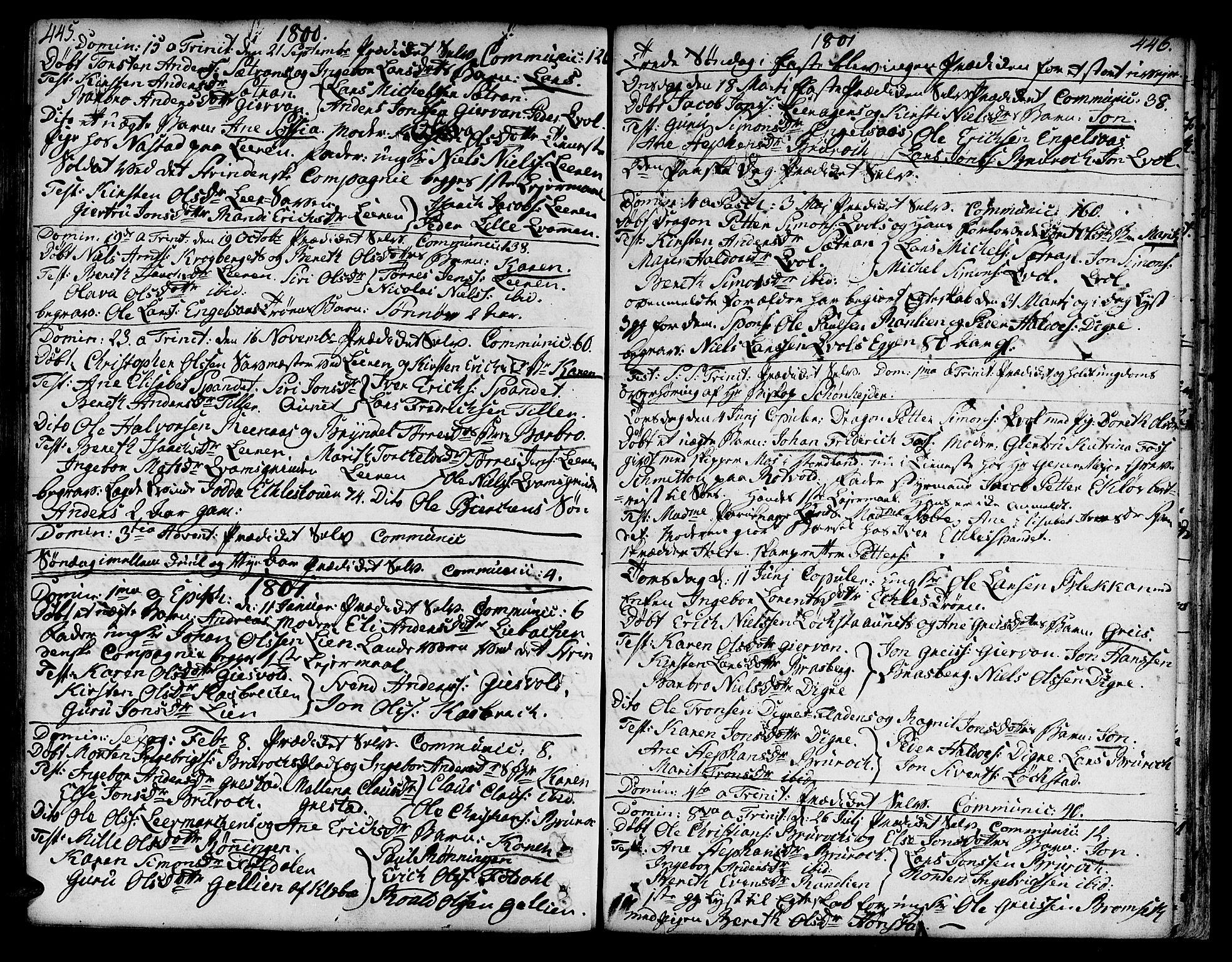 SAT, Ministerialprotokoller, klokkerbøker og fødselsregistre - Sør-Trøndelag, 606/L0282: Ministerialbok nr. 606A02 /3, 1781-1817, s. 445-446