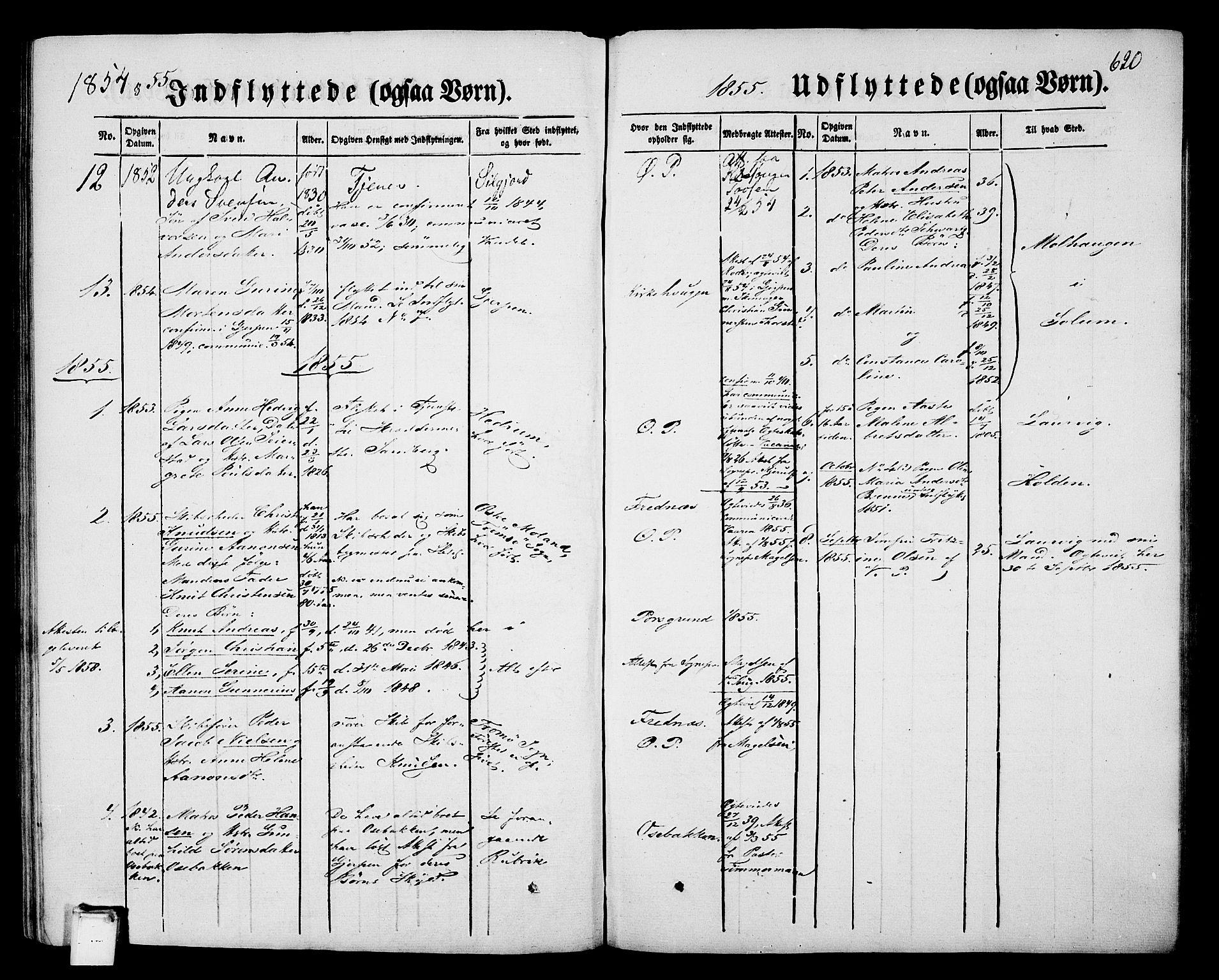 SAKO, Porsgrunn kirkebøker , G/Gb/L0004: Klokkerbok nr. II 4, 1853-1882, s. 620