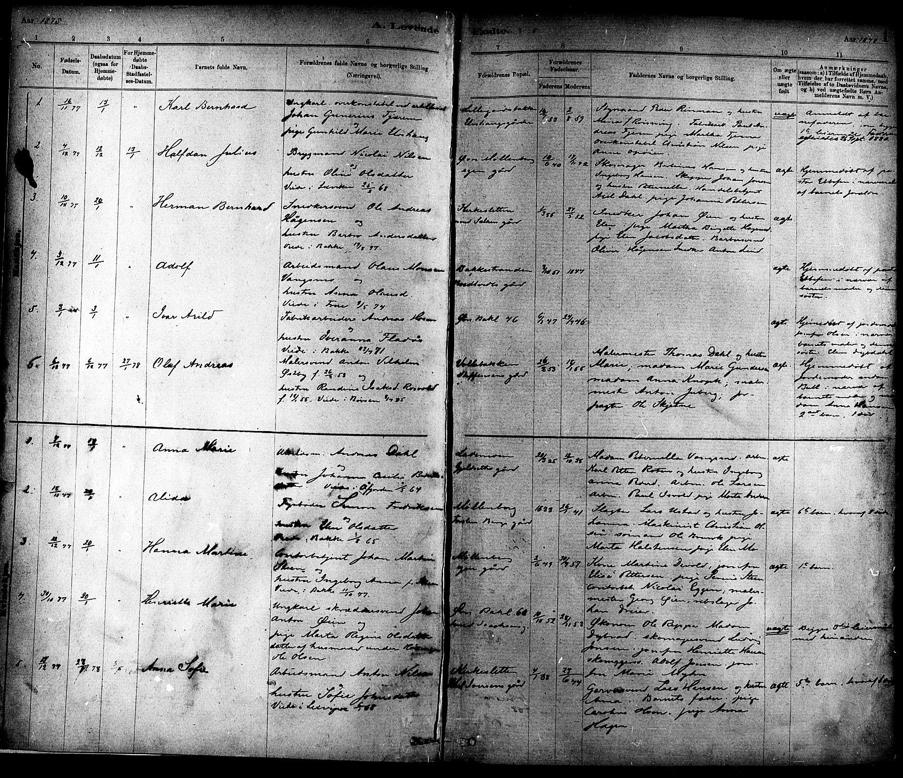 SAT, Ministerialprotokoller, klokkerbøker og fødselsregistre - Sør-Trøndelag, 604/L0188: Ministerialbok nr. 604A09, 1878-1892, s. 1