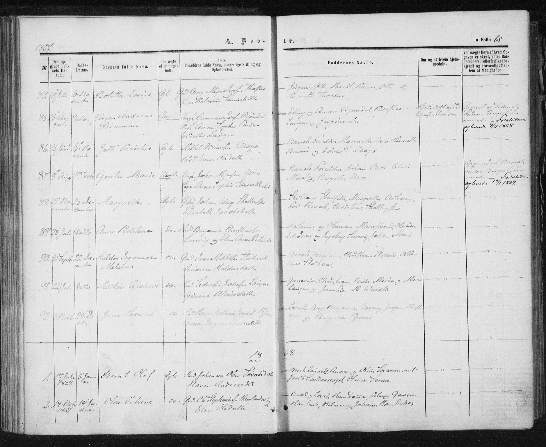 SAT, Ministerialprotokoller, klokkerbøker og fødselsregistre - Nord-Trøndelag, 784/L0670: Ministerialbok nr. 784A05, 1860-1876, s. 65