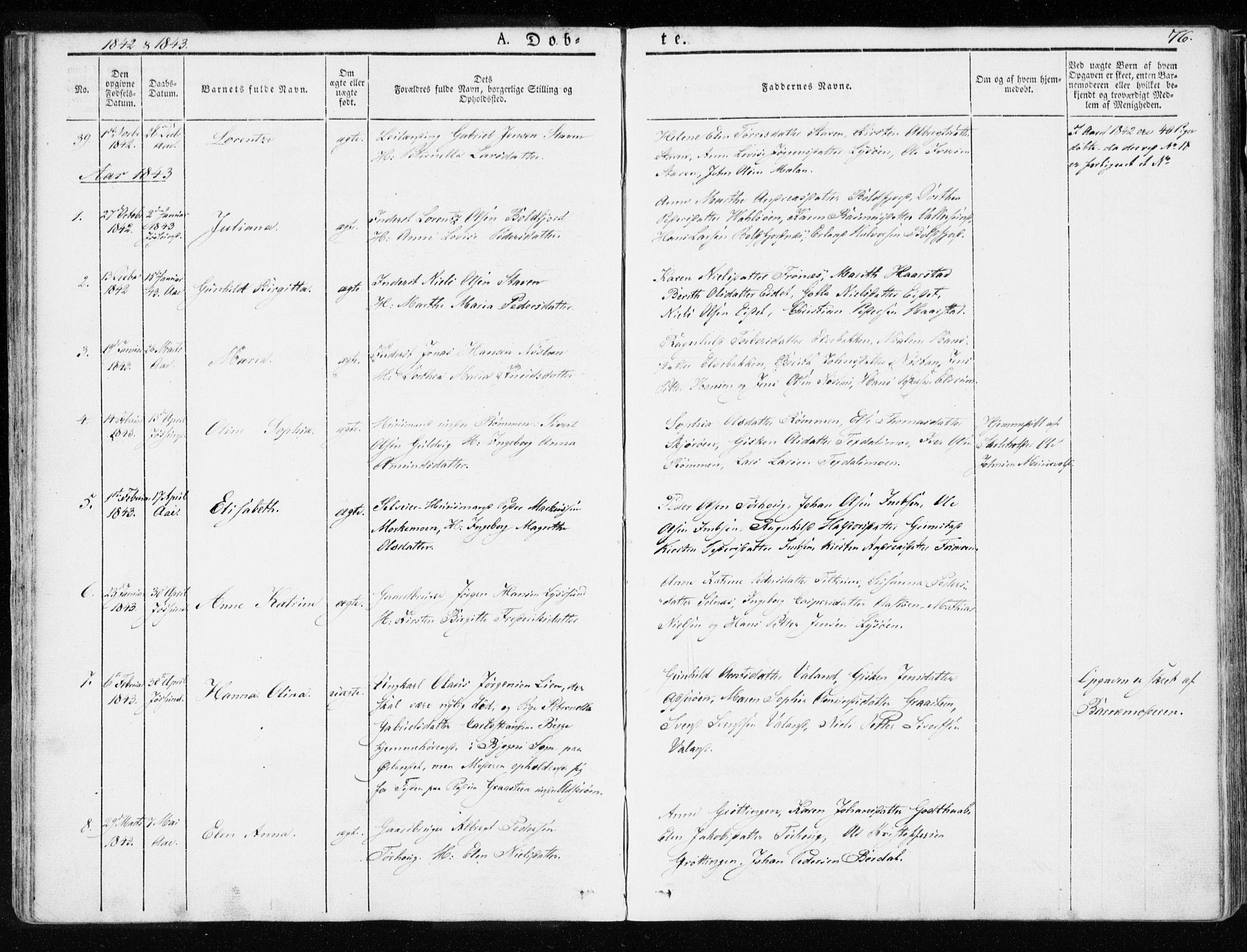 SAT, Ministerialprotokoller, klokkerbøker og fødselsregistre - Sør-Trøndelag, 655/L0676: Ministerialbok nr. 655A05, 1830-1847, s. 76