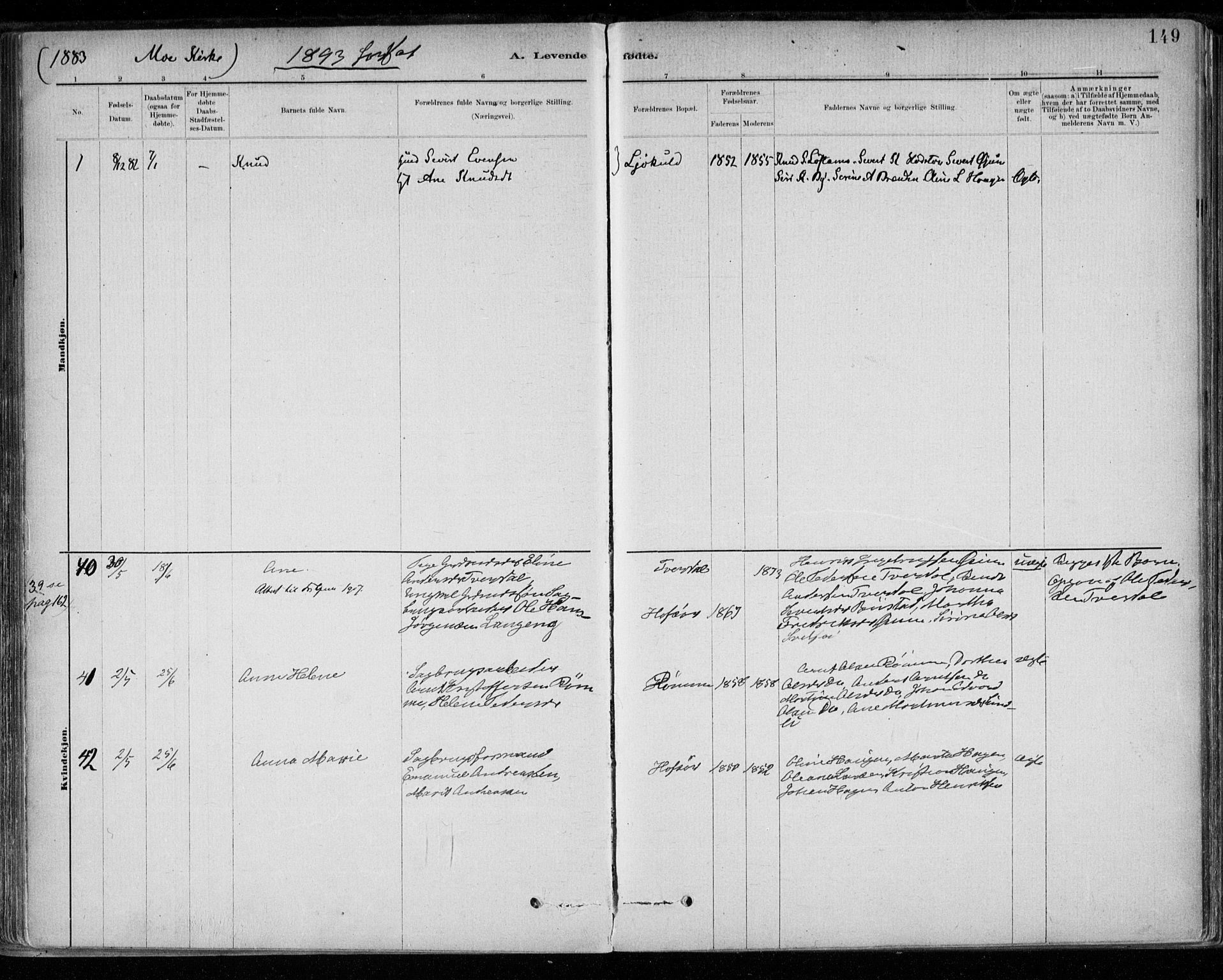 SAT, Ministerialprotokoller, klokkerbøker og fødselsregistre - Sør-Trøndelag, 668/L0809: Ministerialbok nr. 668A09, 1881-1895, s. 149