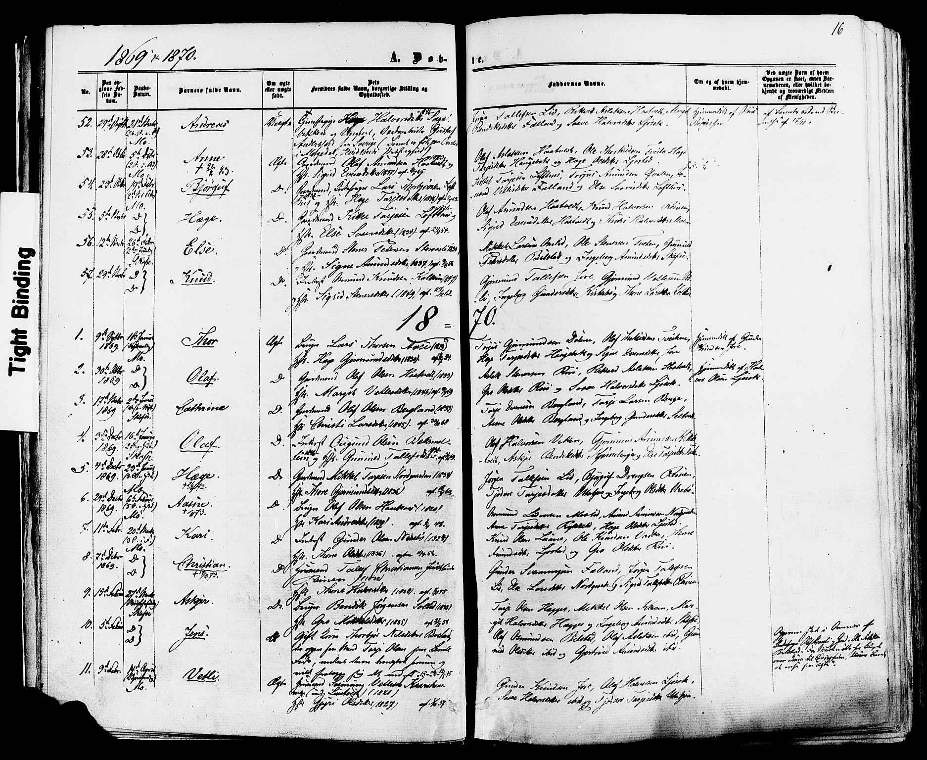 SAKO, Mo kirkebøker, F/Fa/L0006: Ministerialbok nr. I 6, 1865-1885, s. 16