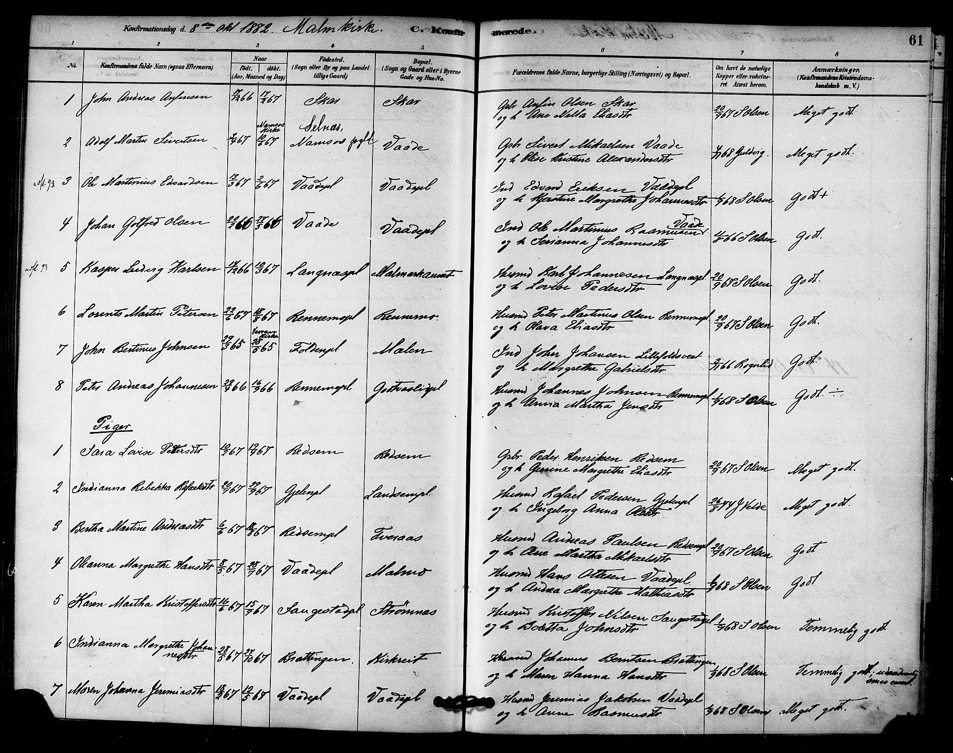 SAT, Ministerialprotokoller, klokkerbøker og fødselsregistre - Nord-Trøndelag, 745/L0429: Ministerialbok nr. 745A01, 1878-1894, s. 61