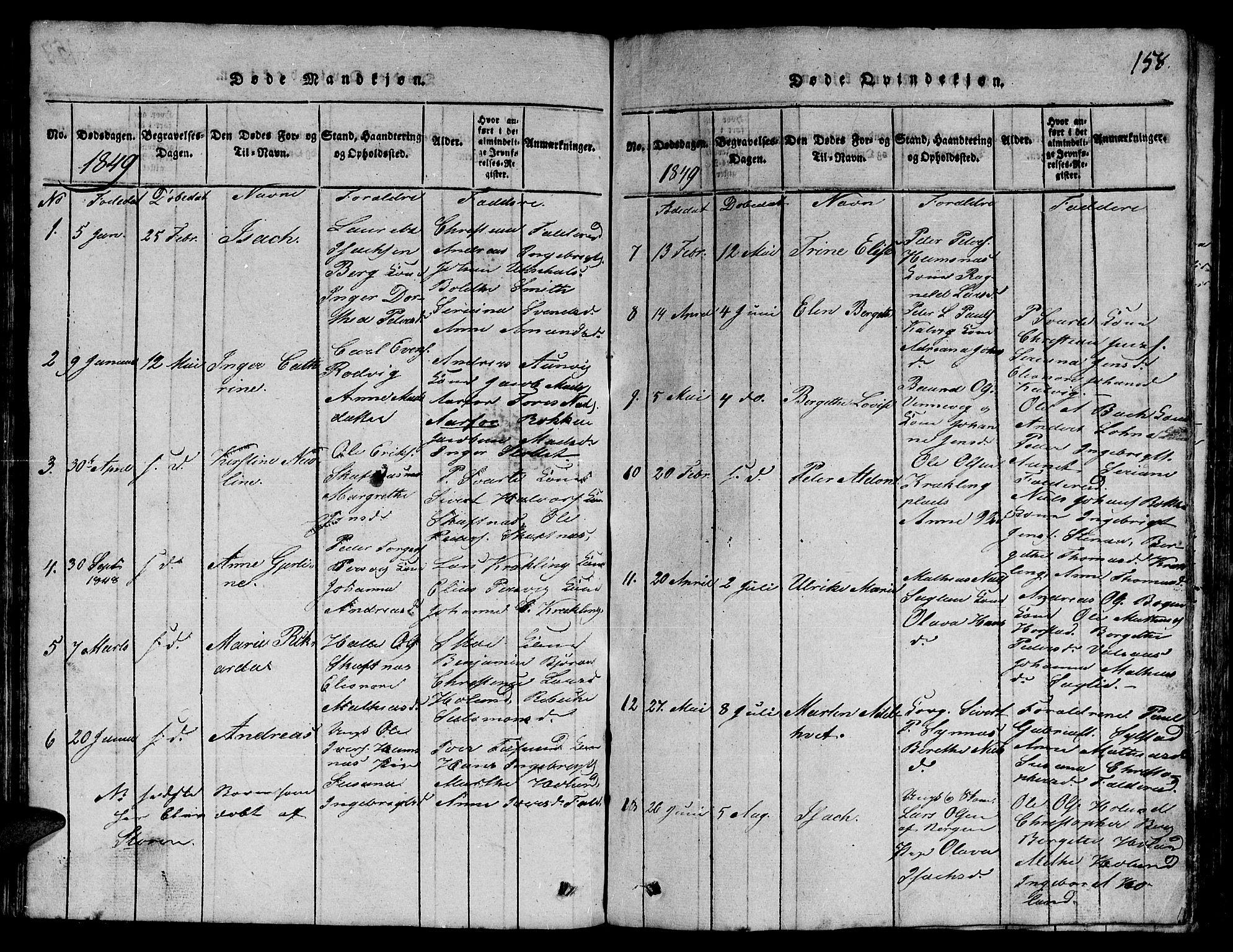 SAT, Ministerialprotokoller, klokkerbøker og fødselsregistre - Nord-Trøndelag, 780/L0648: Klokkerbok nr. 780C01 /3, 1815-1877, s. 158