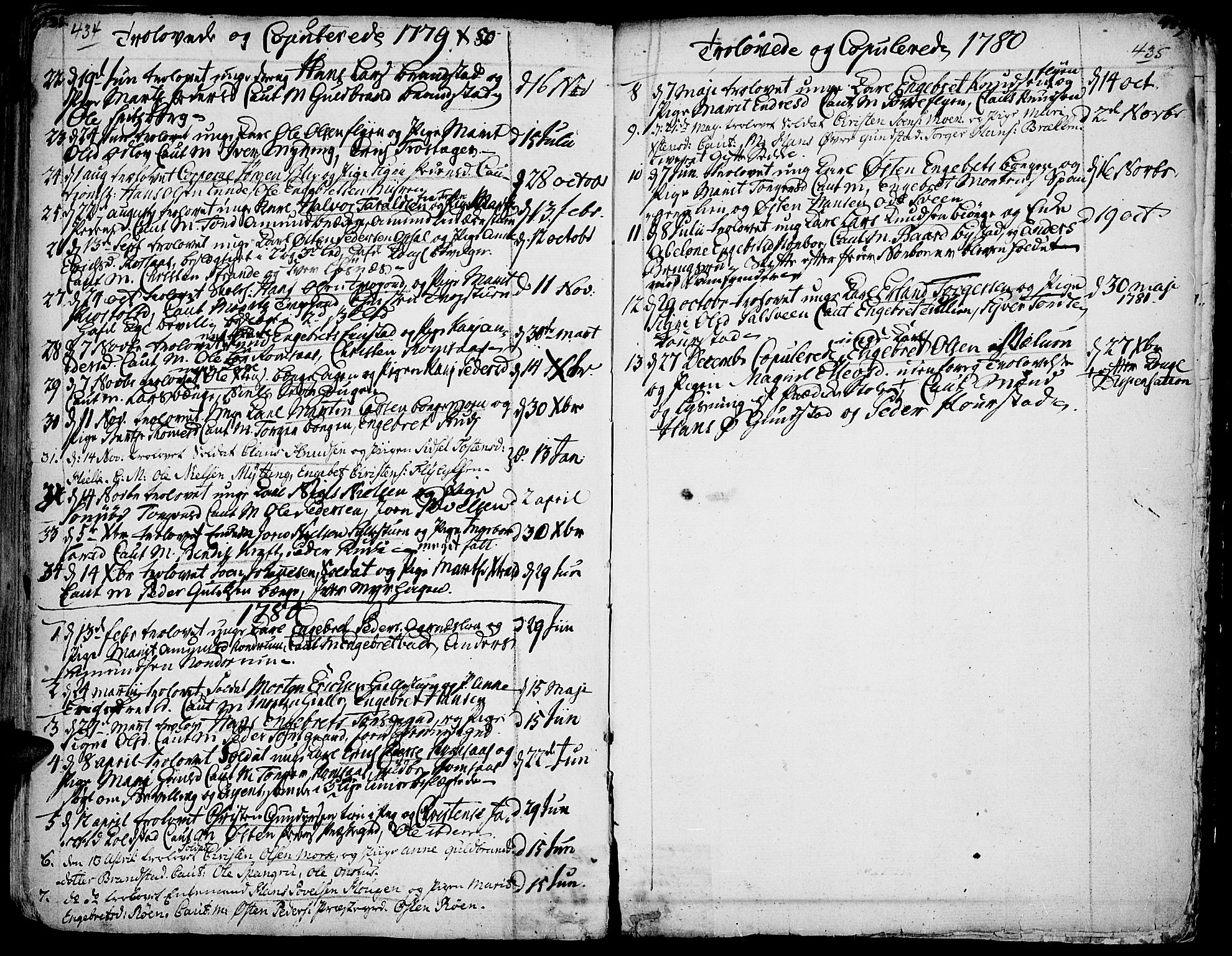 SAH, Ringebu prestekontor, Ministerialbok nr. 2, 1734-1780, s. 434-435