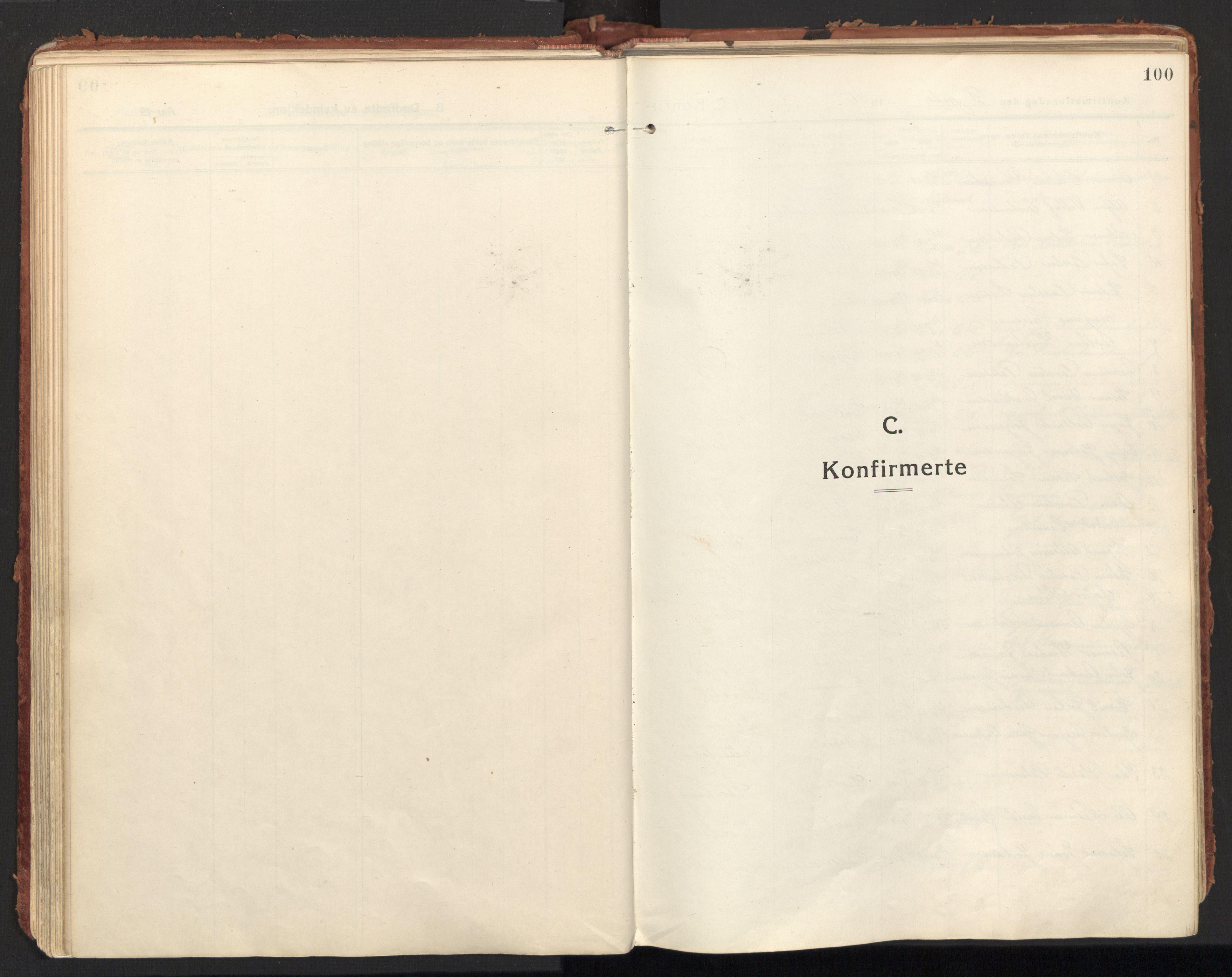 SAT, Ministerialprotokoller, klokkerbøker og fødselsregistre - Nordland, 846/L0650: Ministerialbok nr. 846A08, 1916-1935, s. 100