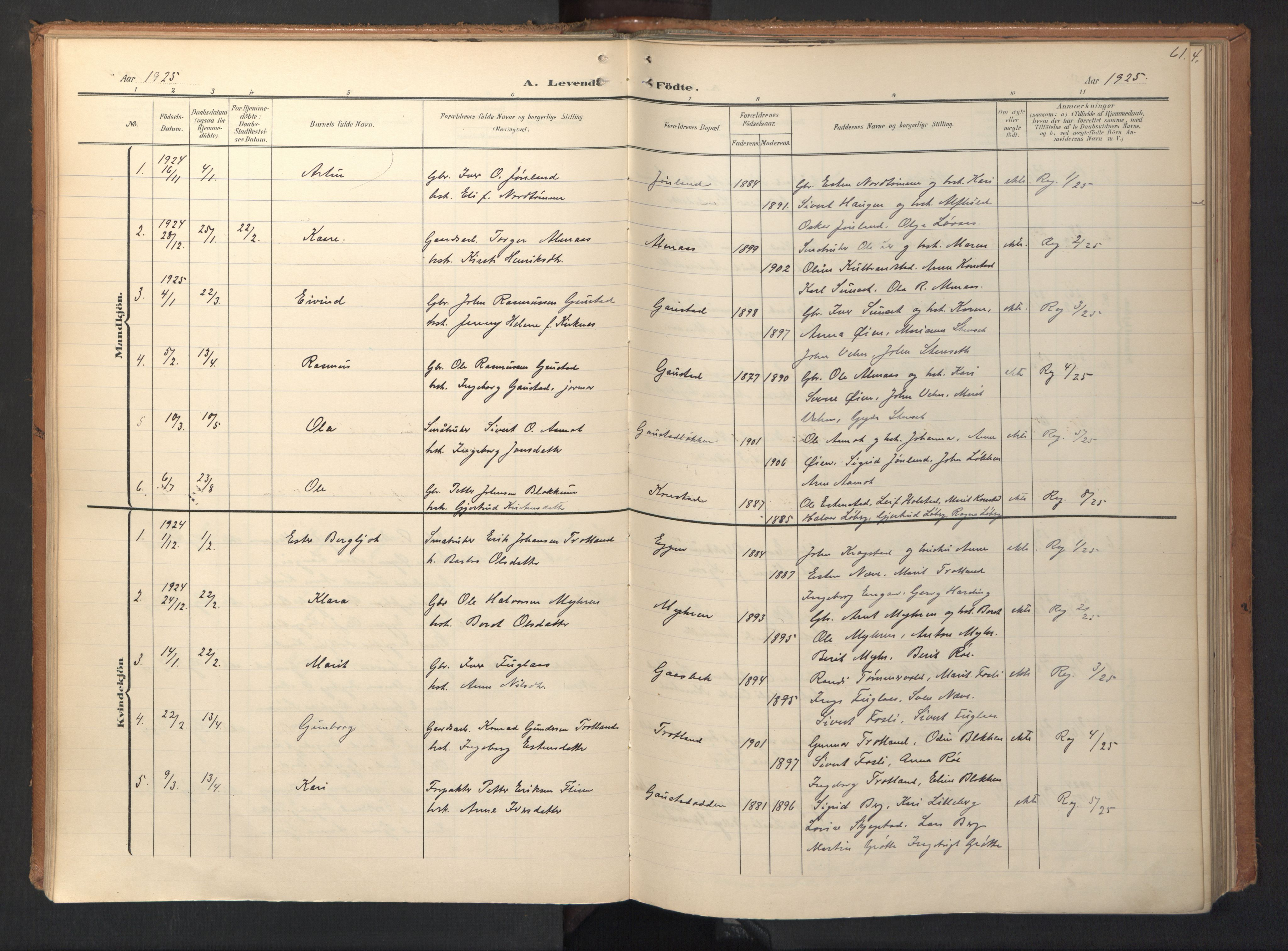 SAT, Ministerialprotokoller, klokkerbøker og fødselsregistre - Sør-Trøndelag, 694/L1128: Ministerialbok nr. 694A02, 1906-1931, s. 61