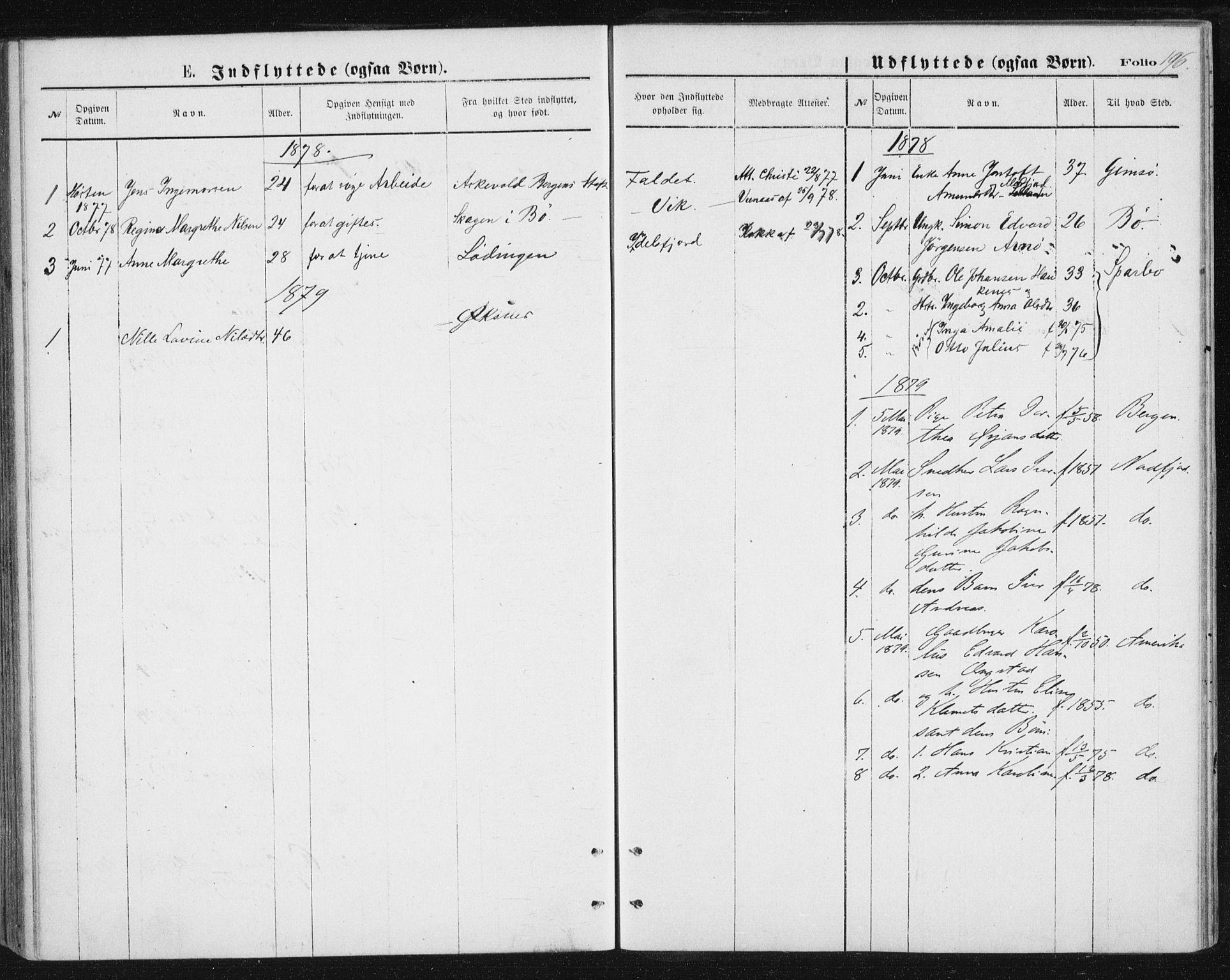 SAT, Ministerialprotokoller, klokkerbøker og fødselsregistre - Nordland, 888/L1243: Ministerialbok nr. 888A09, 1876-1879, s. 196
