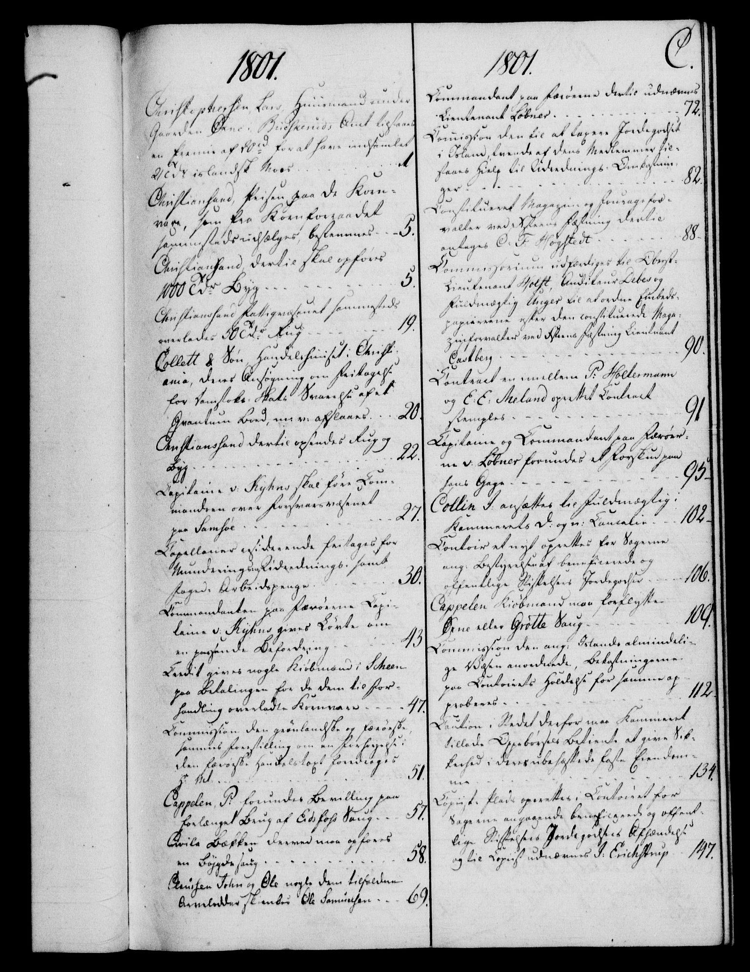 RA, Rentekammeret, Kammerkanselliet, G/Gf/Gfb/L0016: Register til norske relasjons- og resolusjonsprotokoller (merket RK 52.111), 1801-1814, s. 43