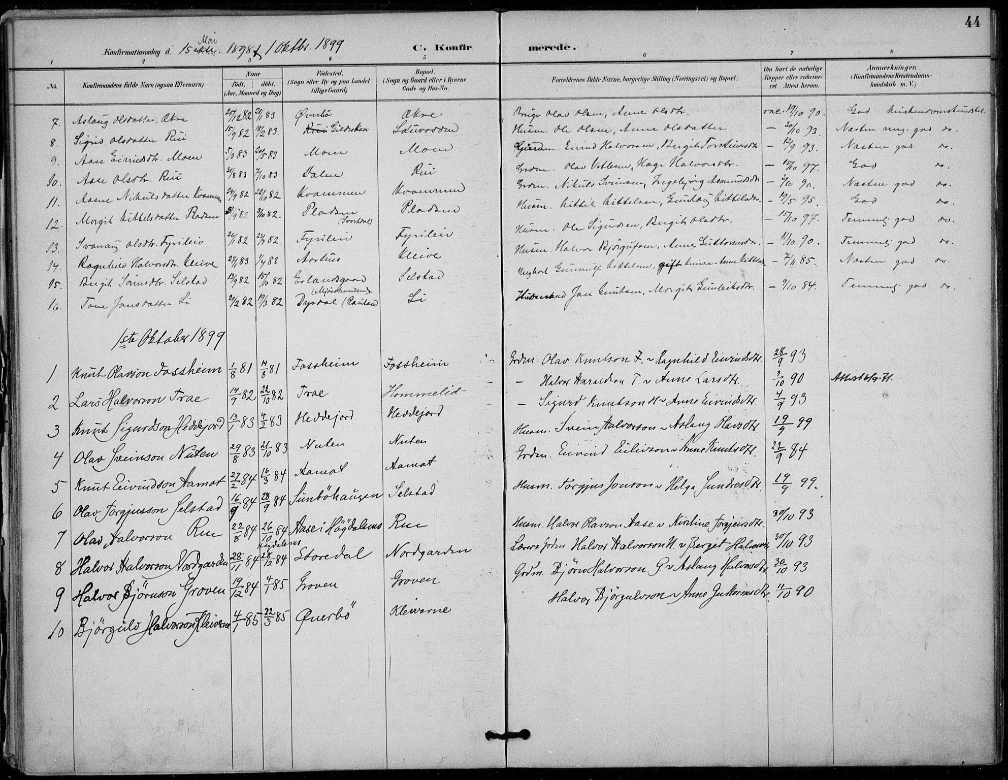 SAKO, Seljord kirkebøker, F/Fc/L0002: Ministerialbok nr. III 2, 1887-1920, s. 44