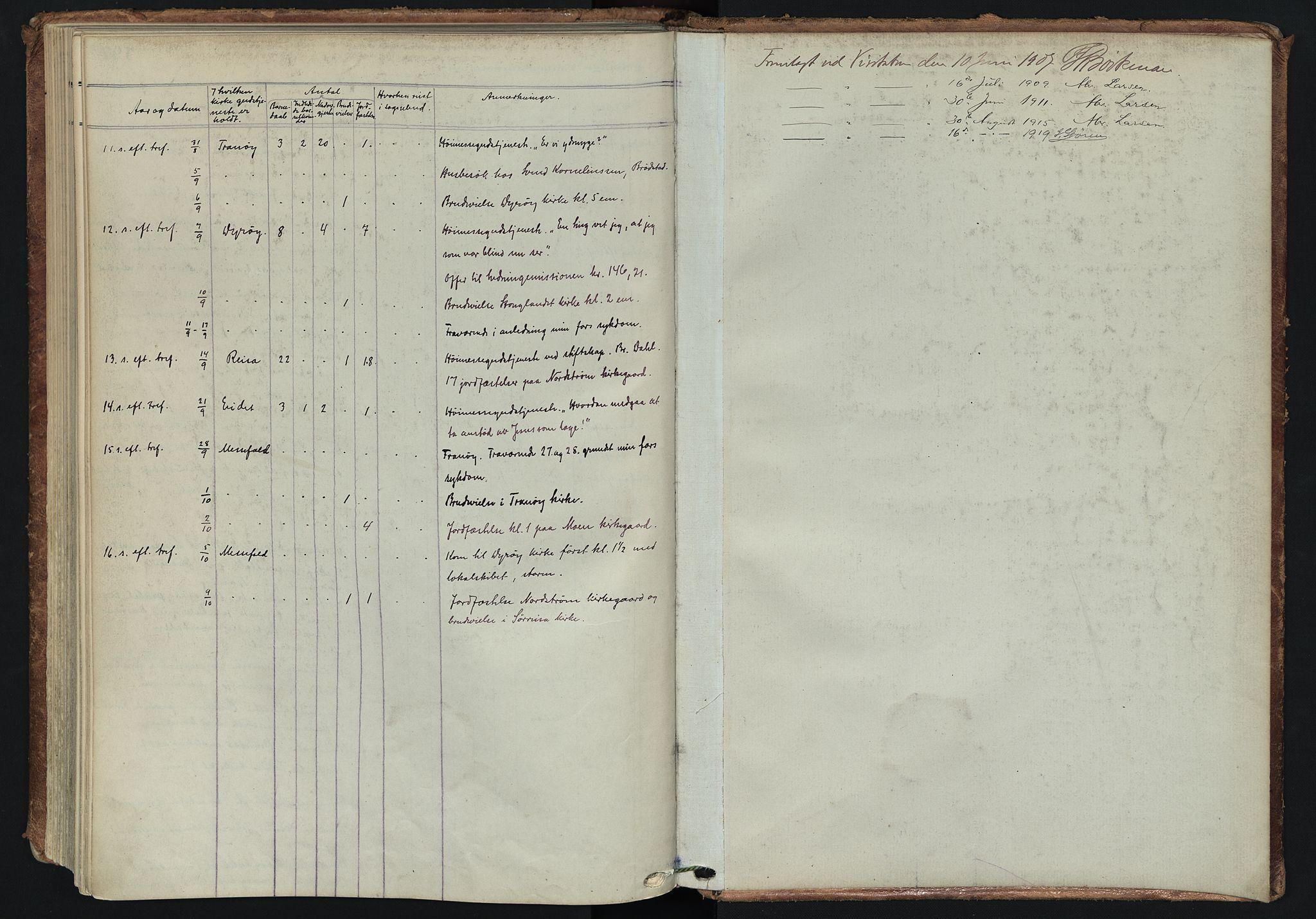 SATØ, Tranøy sokneprestkontor, I/Ia/Iaa/L0014kirke: Ministerialbok nr. 14, 1905-1919