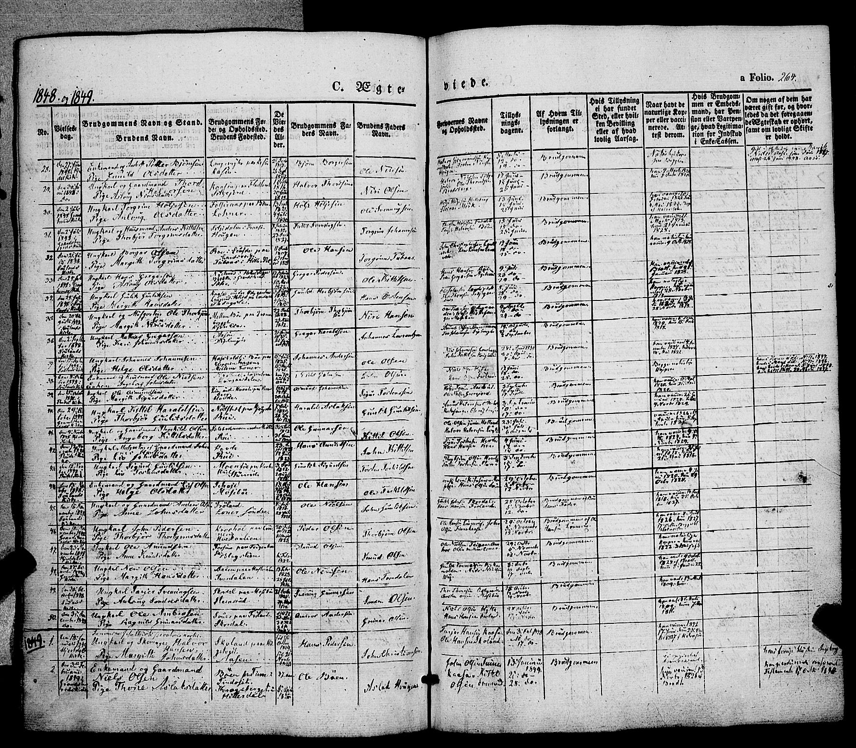 SAKO, Hjartdal kirkebøker, F/Fa/L0008: Ministerialbok nr. I 8, 1844-1859, s. 264