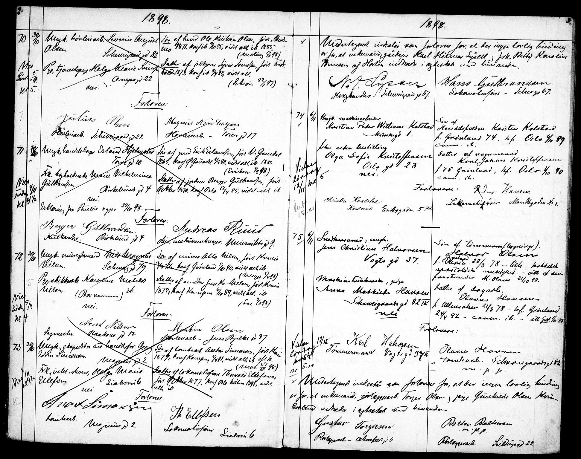 SAO, Gamlebyen prestekontor Kirkebøker, H/Ha/L0002: Lysningsprotokoll nr. 2, 1898-1916, s. 2-3