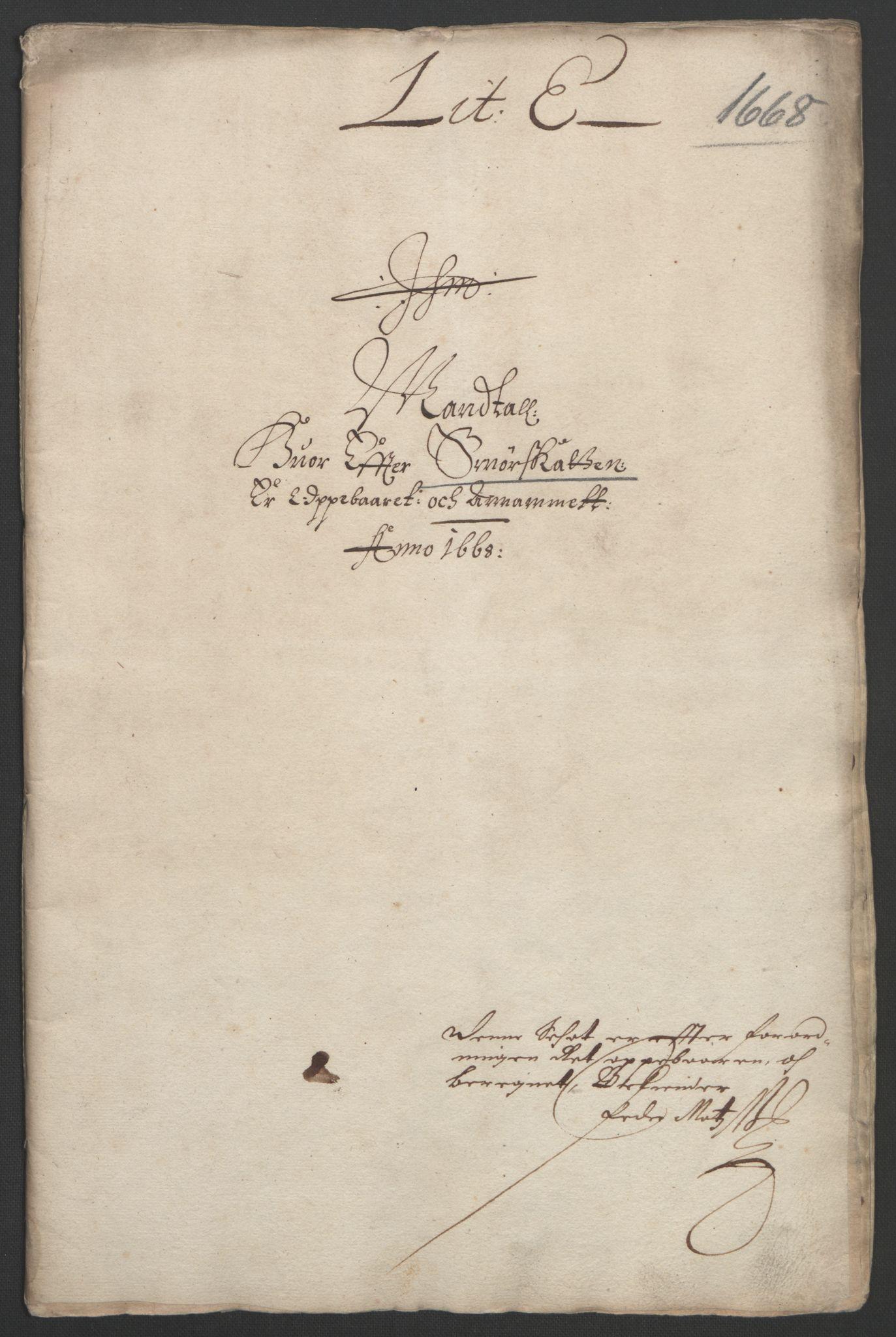 RA, Rentekammeret inntil 1814, Reviderte regnskaper, Fogderegnskap, R33/L1964: Fogderegnskap Larvik grevskap, 1665-1668, s. 193