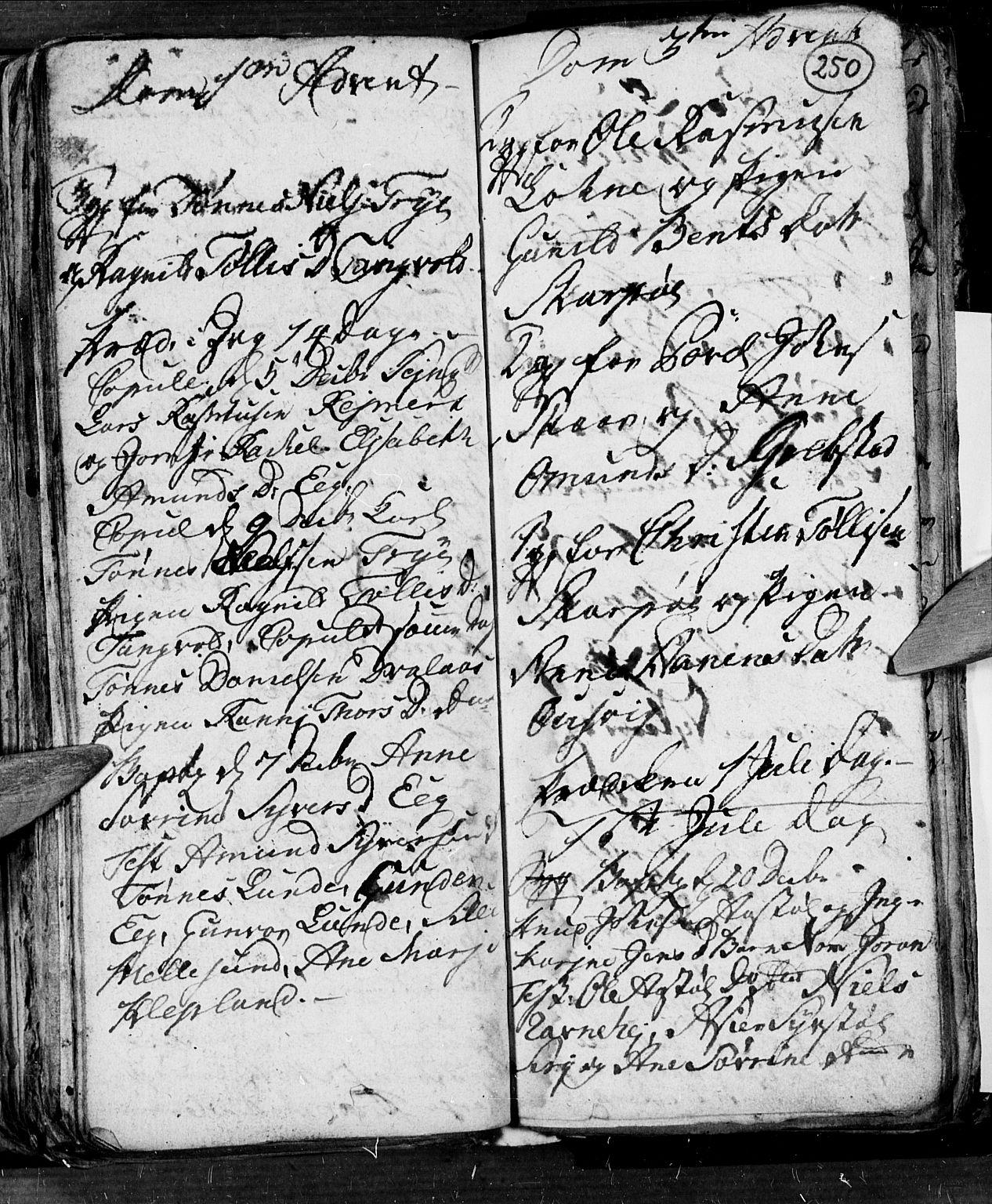 SAK, Søgne sokneprestkontor, F/Fb/Fbb/L0001: Klokkerbok nr. B 1, 1779-1802, s. 250