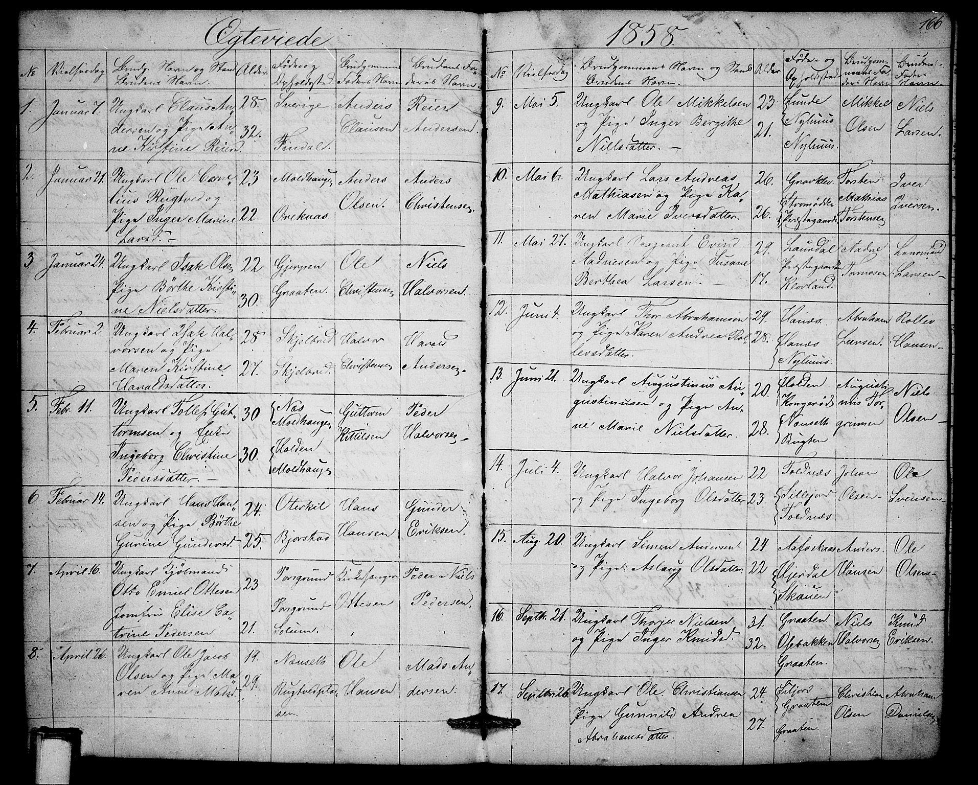 SAKO, Solum kirkebøker, G/Ga/L0003: Klokkerbok nr. I 3, 1848-1859, s. 166