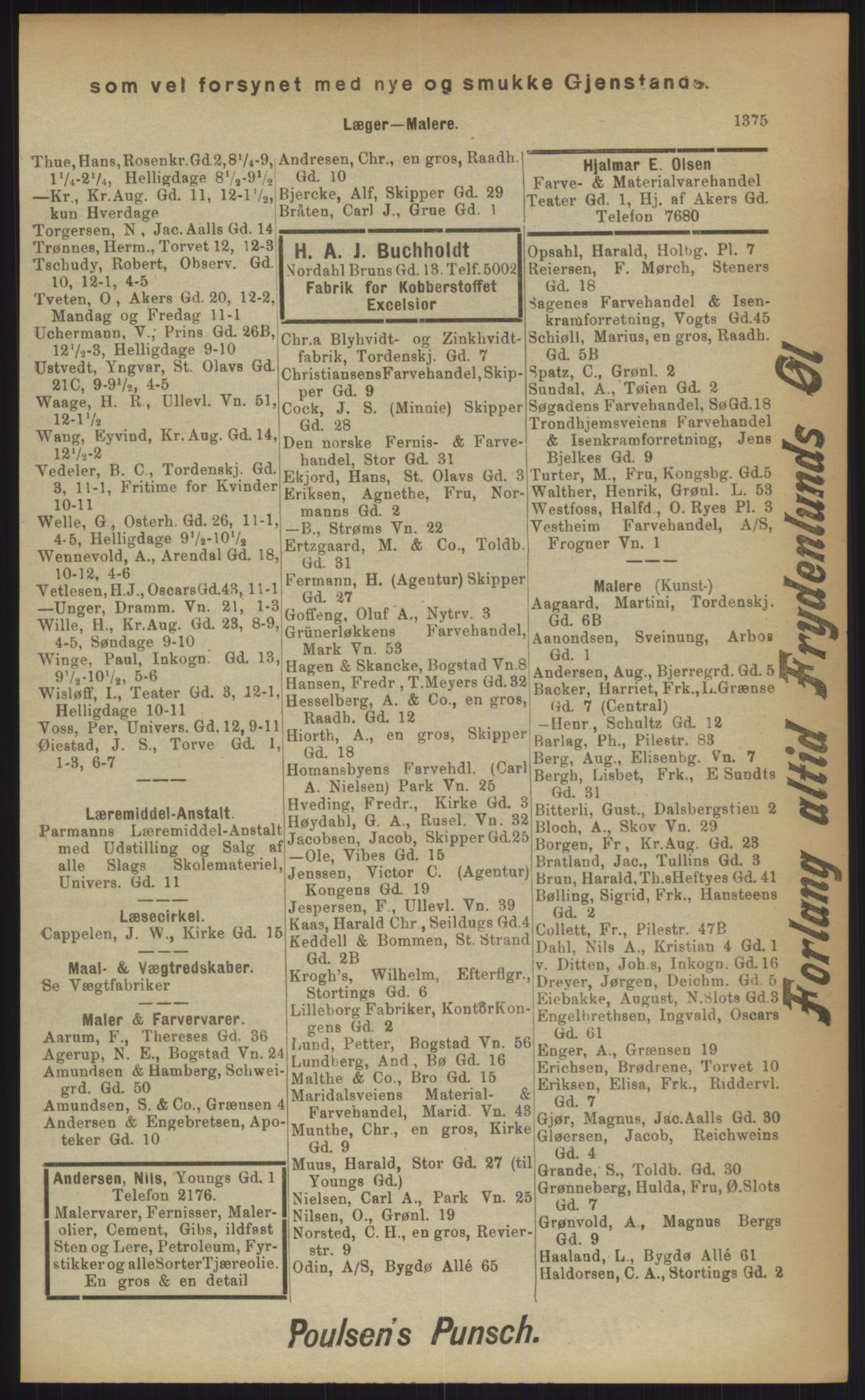 RA, Kristiania adressebok (publikasjon)*, 1903, s. 1375