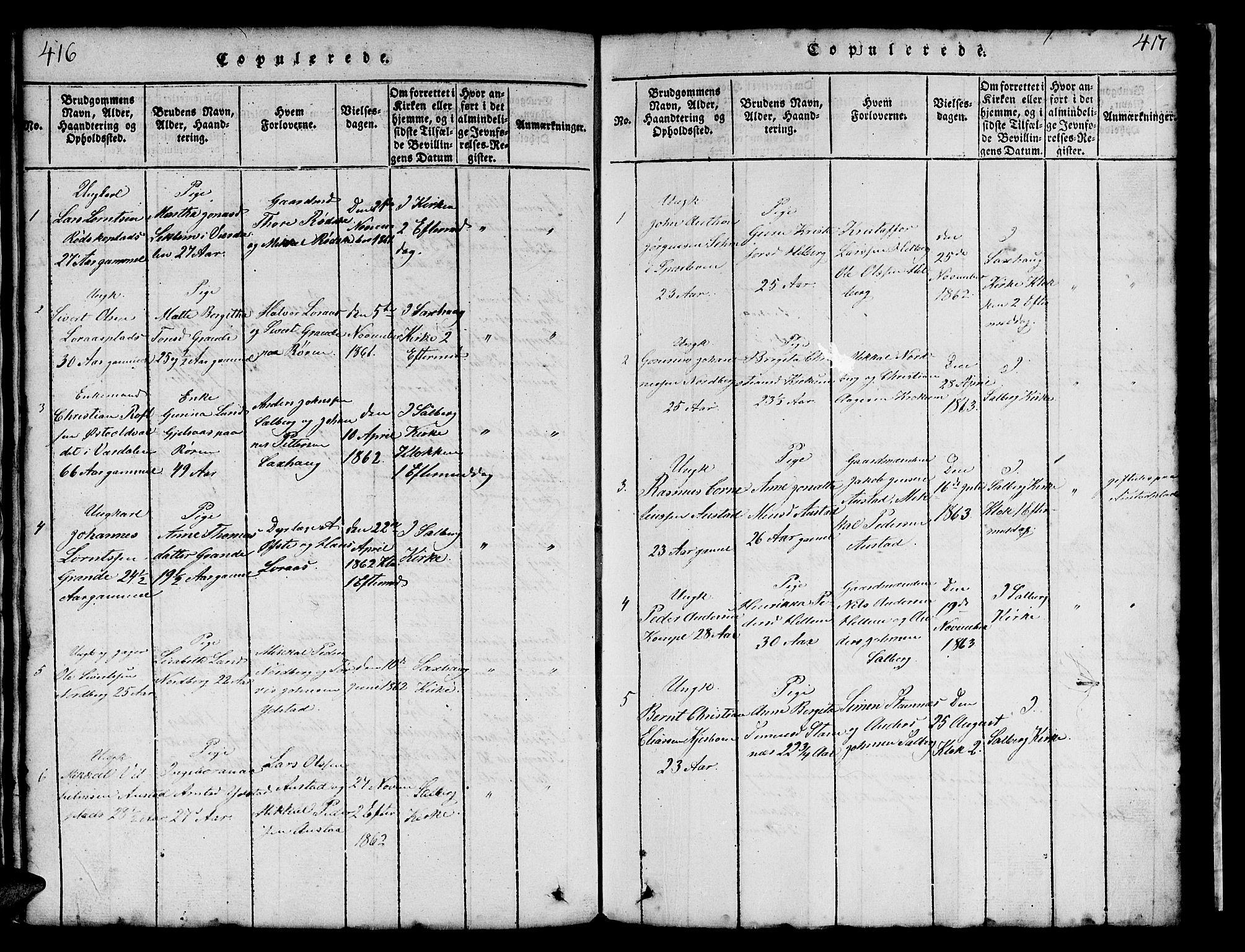 SAT, Ministerialprotokoller, klokkerbøker og fødselsregistre - Nord-Trøndelag, 731/L0310: Klokkerbok nr. 731C01, 1816-1874, s. 416-417