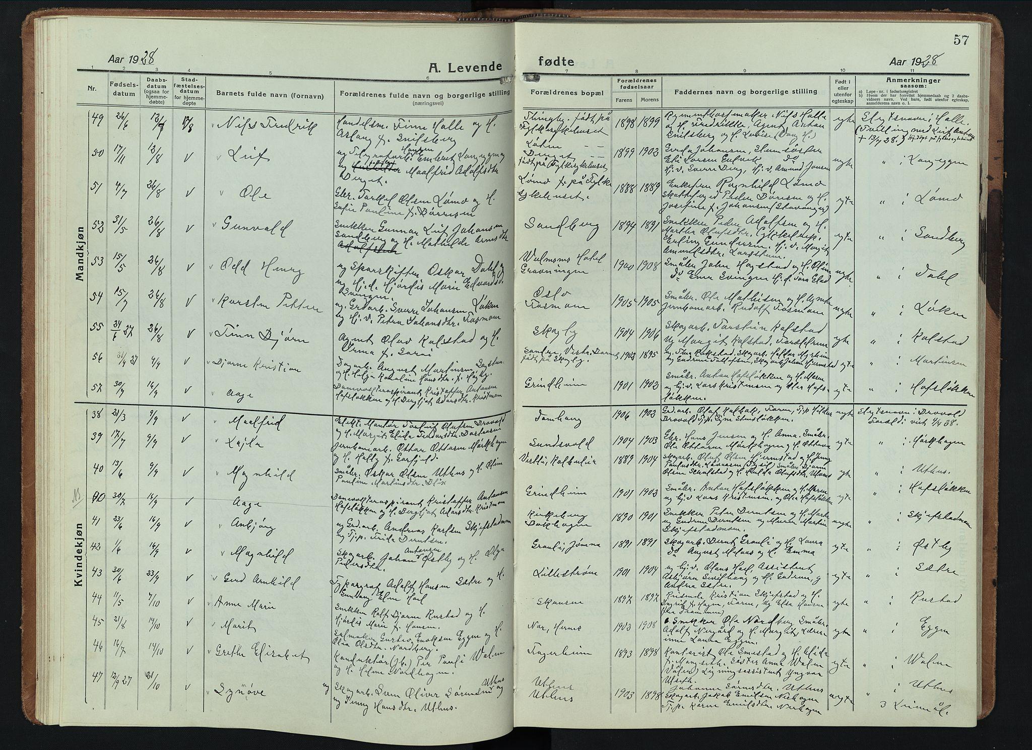 SAH, Elverum prestekontor, H/Ha/Hab/L0015#: Klokkerbok nr. 15, 1922-1945, s. 57