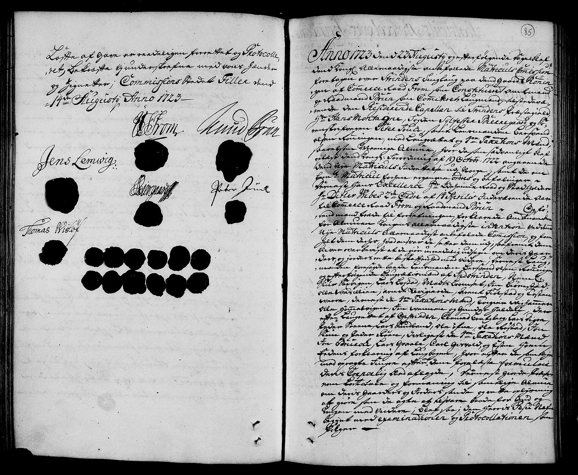 RA, Rentekammeret inntil 1814, Realistisk ordnet avdeling, N/Nb/Nbf/L0160: Strinda og Selbu eksaminasjonsprotokoll, 1723, s. 84b-85a
