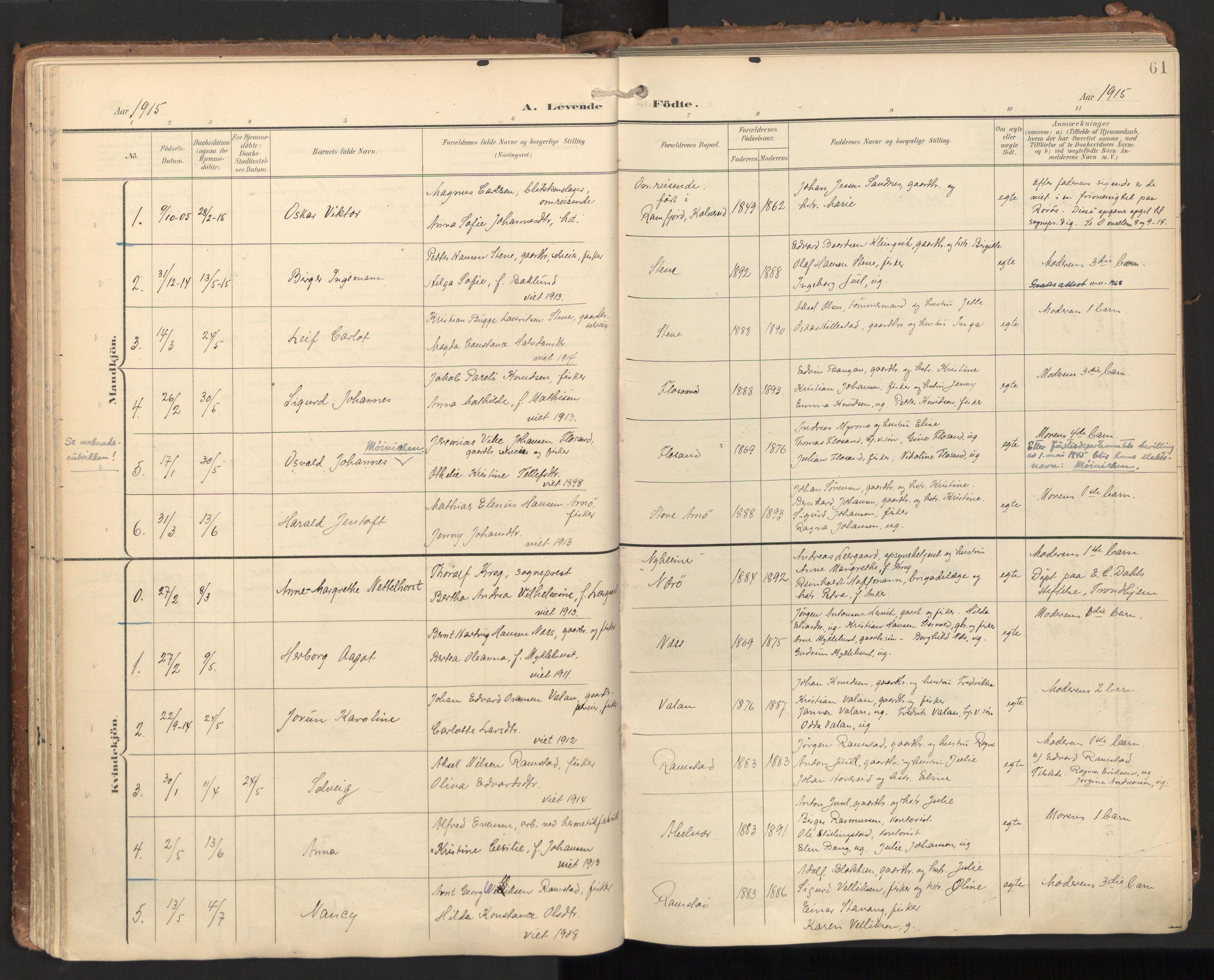 SAT, Ministerialprotokoller, klokkerbøker og fødselsregistre - Nord-Trøndelag, 784/L0677: Ministerialbok nr. 784A12, 1900-1920, s. 61