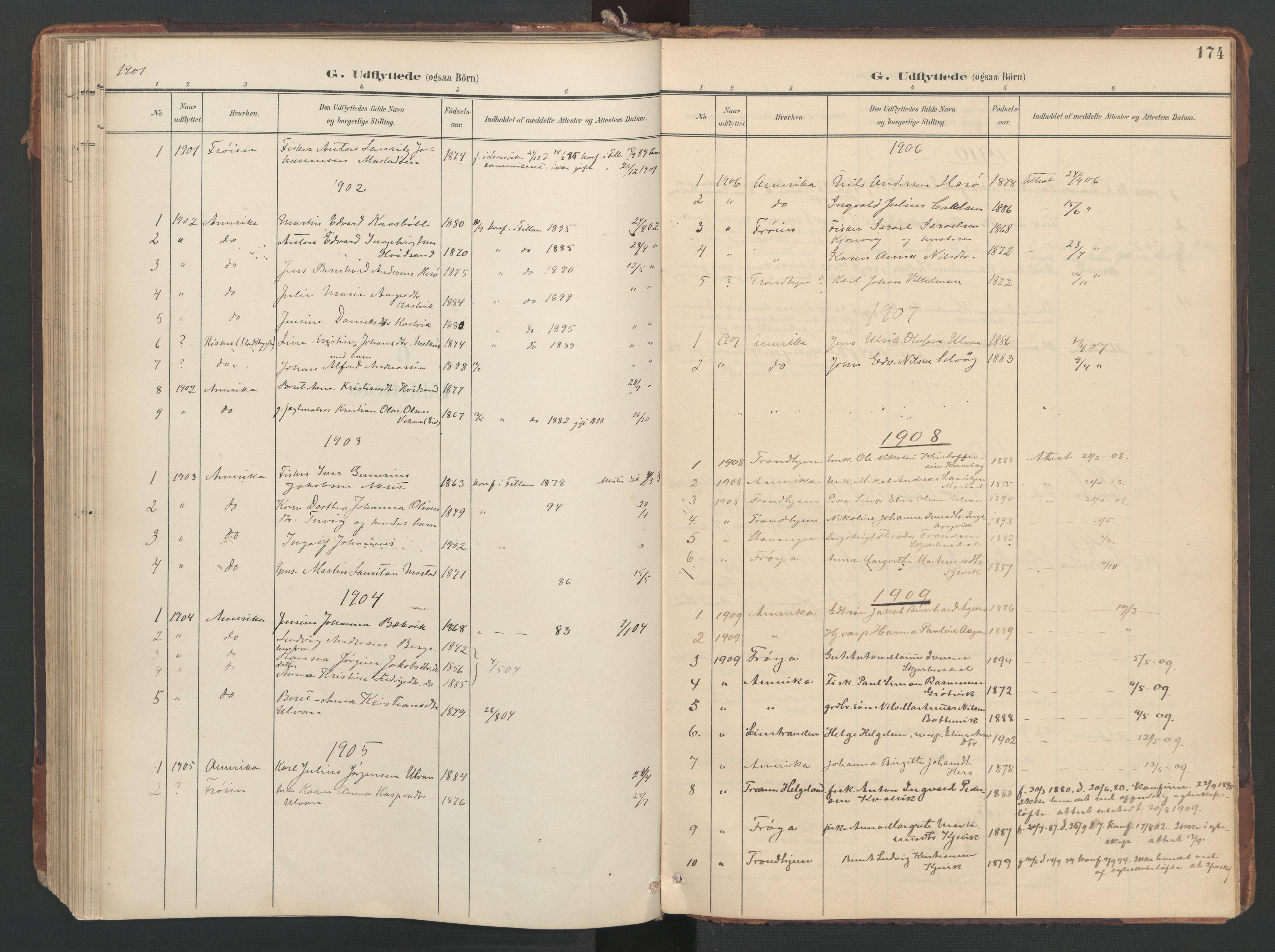 SAT, Ministerialprotokoller, klokkerbøker og fødselsregistre - Sør-Trøndelag, 638/L0568: Ministerialbok nr. 638A01, 1901-1916, s. 174
