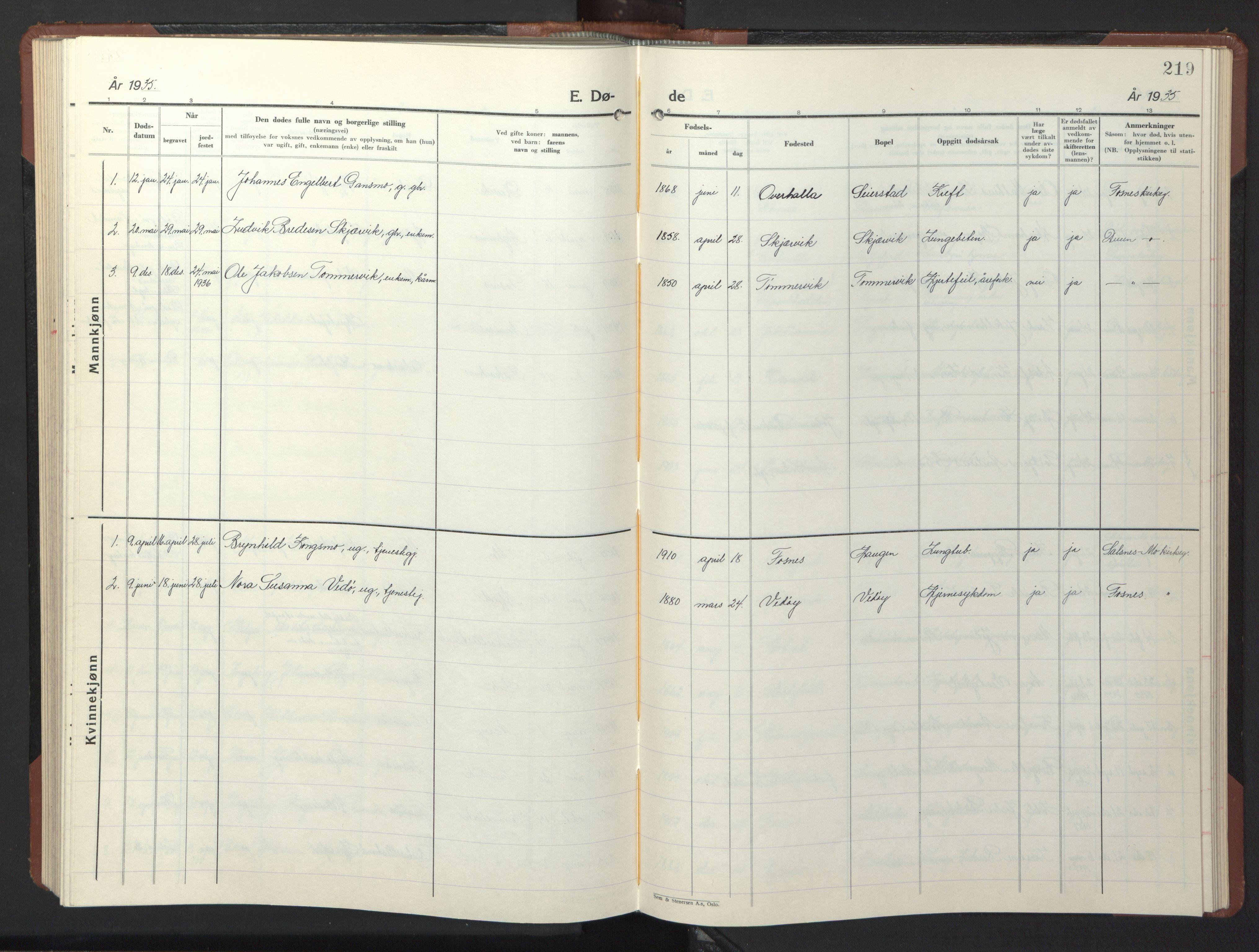 SAT, Ministerialprotokoller, klokkerbøker og fødselsregistre - Nord-Trøndelag, 773/L0625: Klokkerbok nr. 773C01, 1910-1952, s. 219