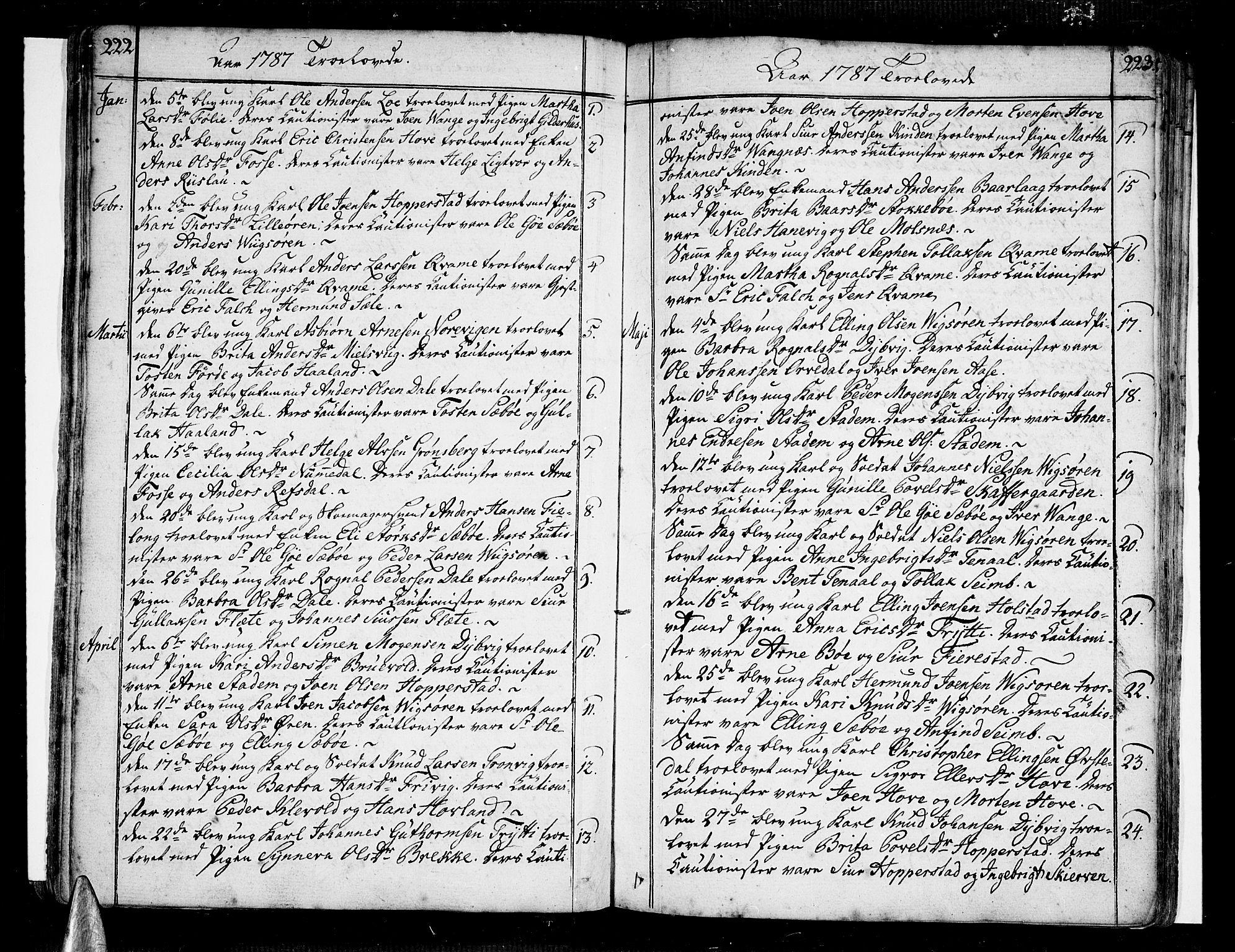 SAB, Vik Sokneprestembete, Ministerialbok nr. A 5, 1787-1820, s. 222-223
