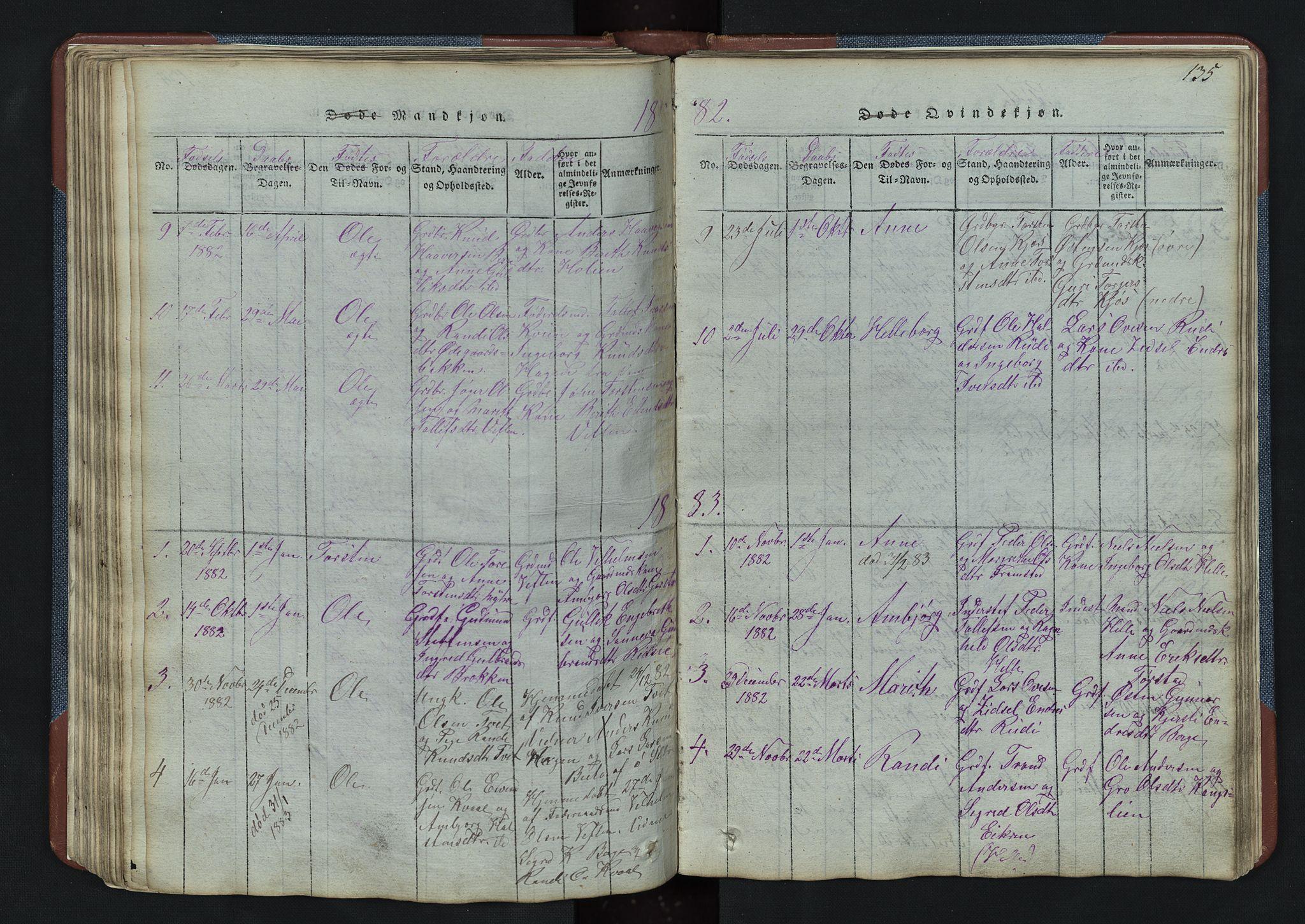 SAH, Vang prestekontor, Valdres, Klokkerbok nr. 3, 1814-1892, s. 135