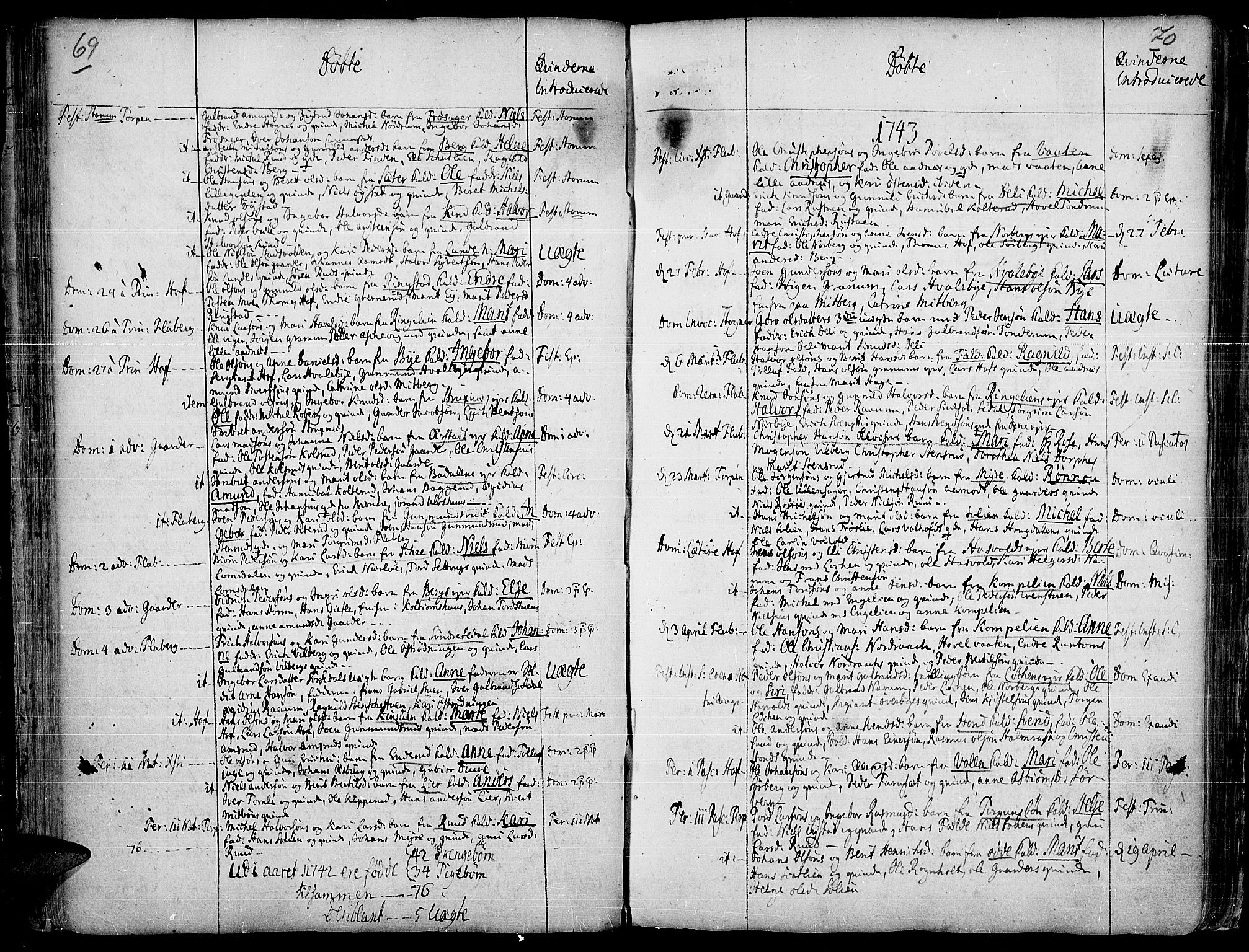 SAH, Land prestekontor, Ministerialbok nr. 2, 1733-1764, s. 69-70