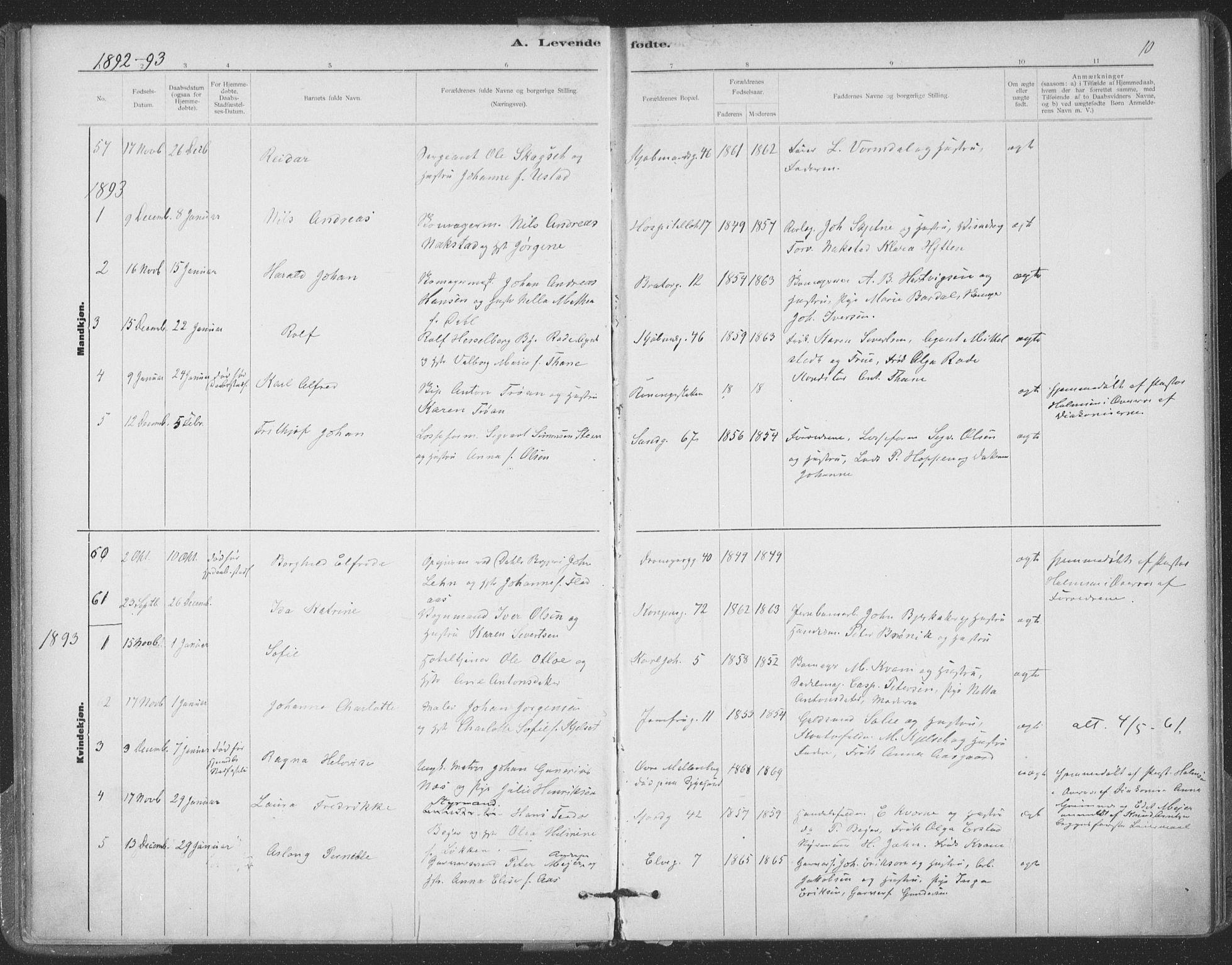SAT, Ministerialprotokoller, klokkerbøker og fødselsregistre - Sør-Trøndelag, 602/L0122: Ministerialbok nr. 602A20, 1892-1908, s. 10