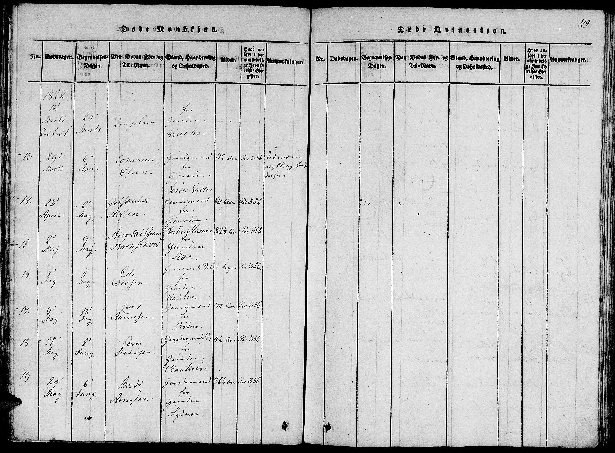 SAB, Fjelberg Sokneprestembete, H/Haa: Ministerialbok nr. A 4, 1816-1822, s. 119