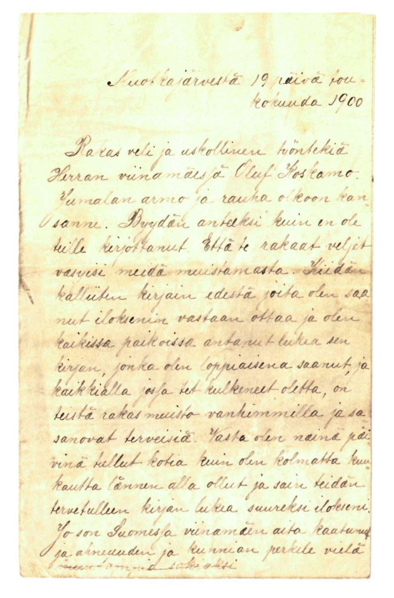 FMFB, Elise Balos brevsamling, F/Fa/L0012: Brev til Oluf Koskamo , 1900