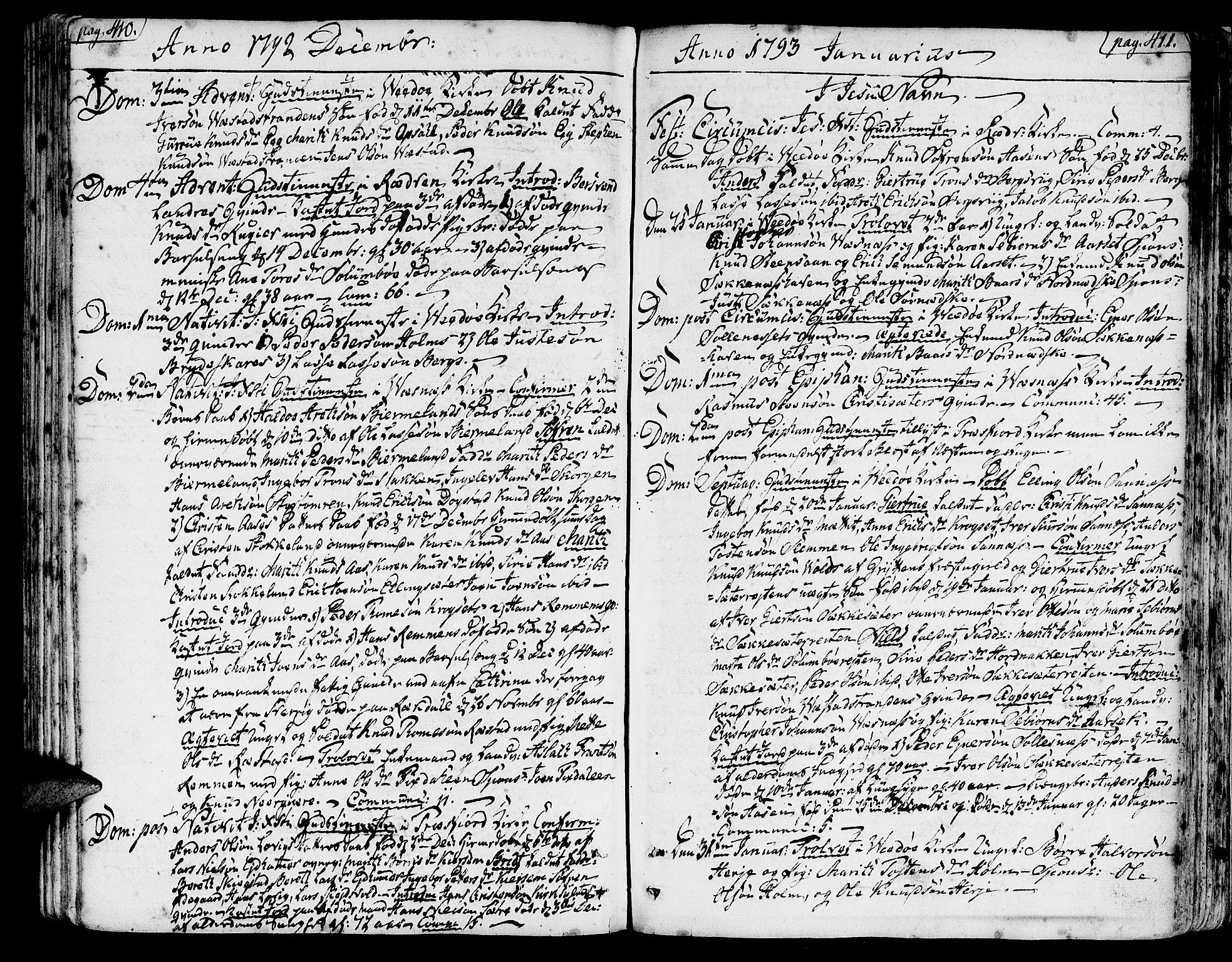 SAT, Ministerialprotokoller, klokkerbøker og fødselsregistre - Møre og Romsdal, 547/L0600: Ministerialbok nr. 547A02, 1765-1799, s. 410-411