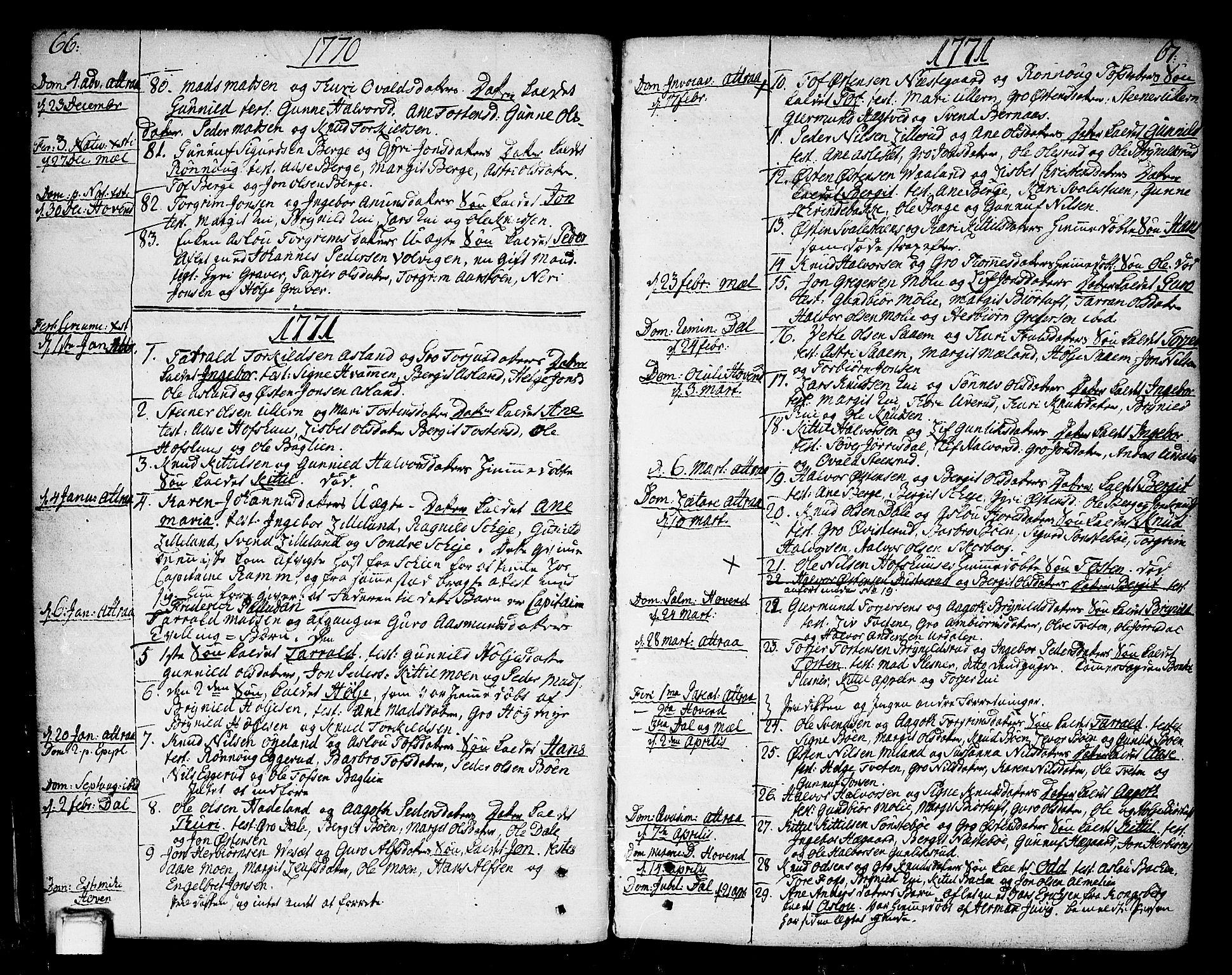 SAKO, Tinn kirkebøker, F/Fa/L0002: Ministerialbok nr. I 2, 1757-1810, s. 66-67