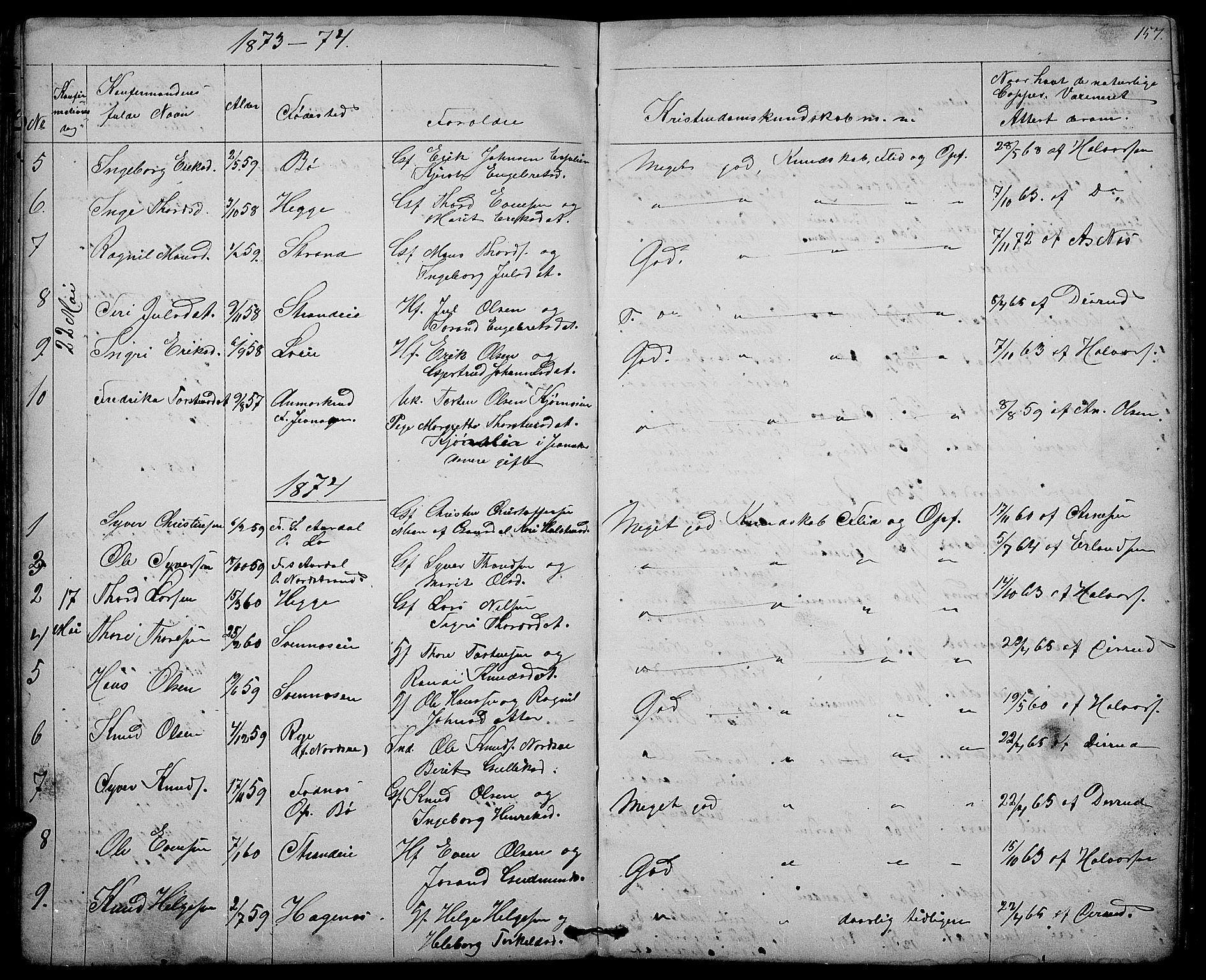 SAH, Nord-Aurdal prestekontor, Klokkerbok nr. 3, 1842-1882, s. 157