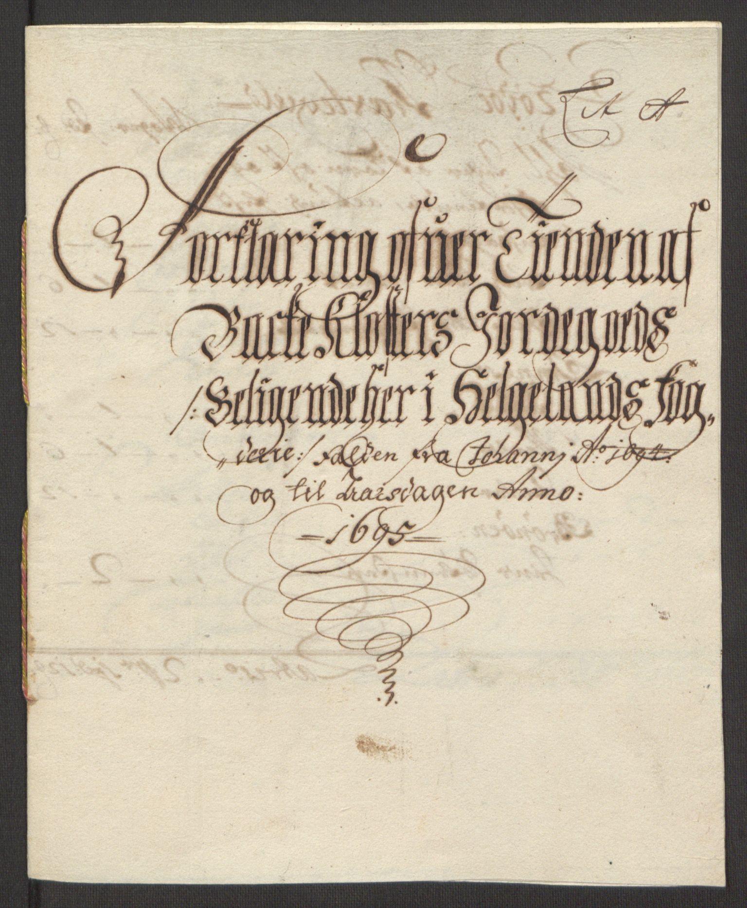 RA, Rentekammeret inntil 1814, Reviderte regnskaper, Fogderegnskap, R65/L4505: Fogderegnskap Helgeland, 1693-1696, s. 278