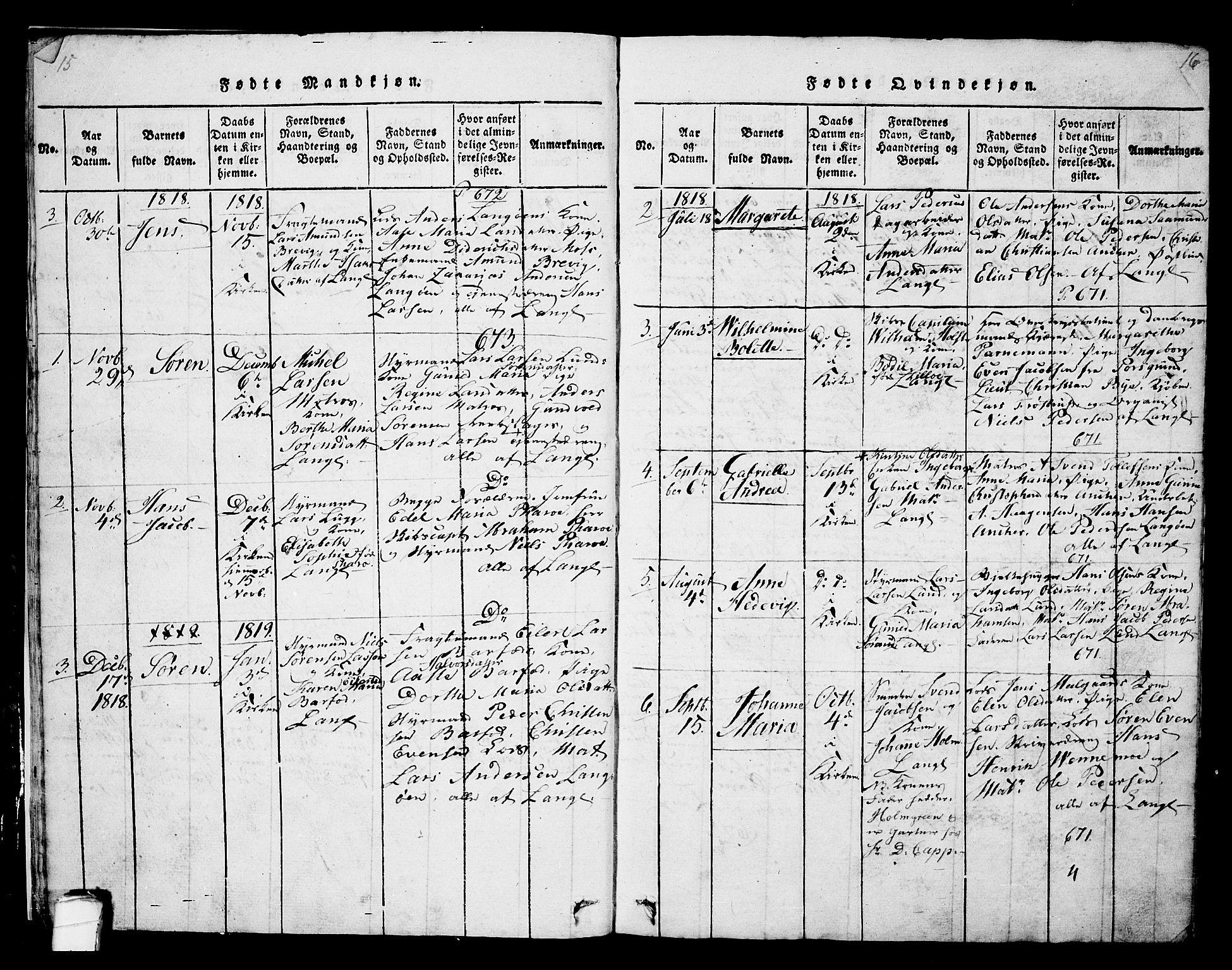 SAKO, Langesund kirkebøker, G/Ga/L0003: Klokkerbok nr. 3, 1815-1858, s. 15-16