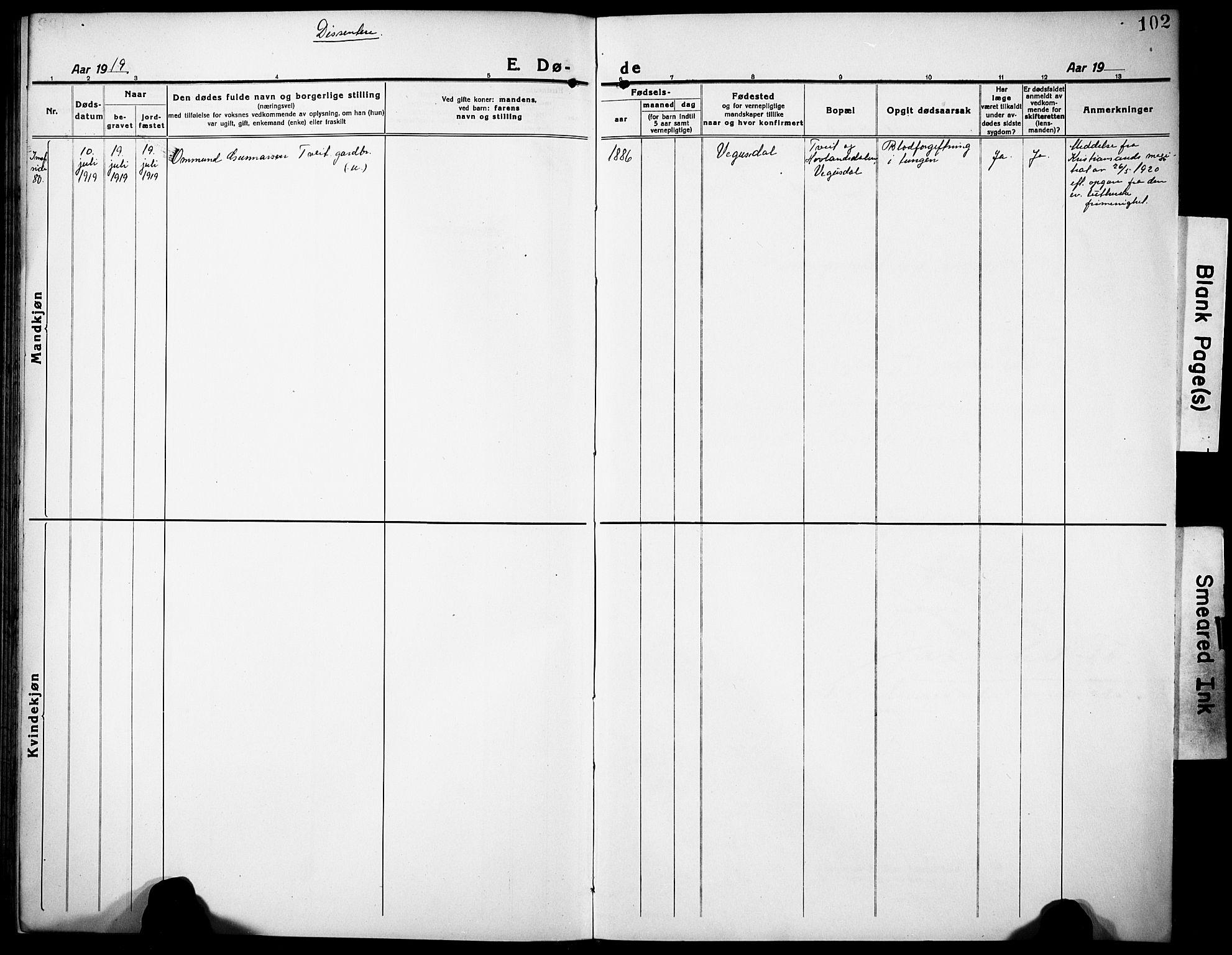 SAK, Herefoss sokneprestkontor, F/Fb/Fbb/L0004: Klokkerbok nr. B 4, 1917-1933, s. 93