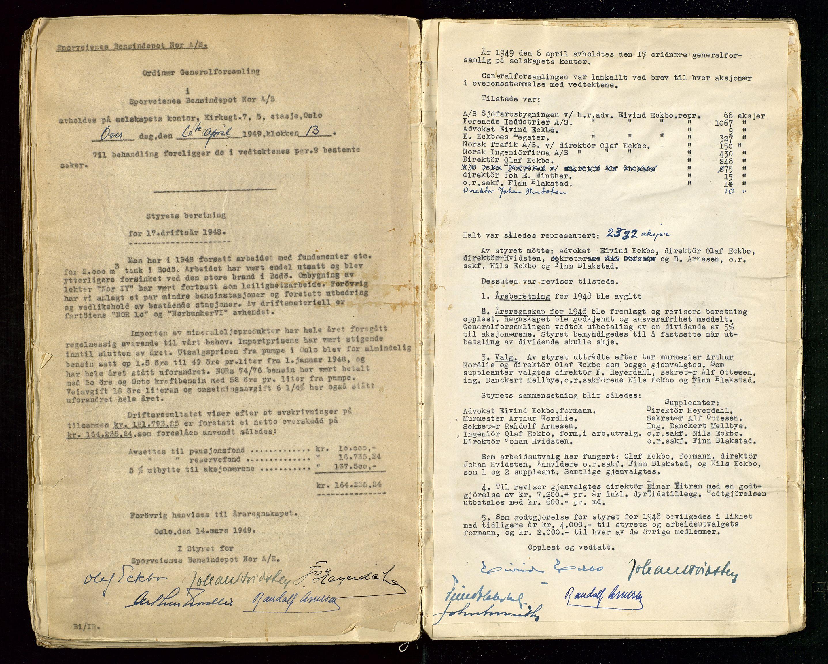 SAST, PA 1514 - Sporveienes Bensindepot, Norsk Oljeraffineri A/S, A/L0001: Styreprotokoll. Forhandlingsprotokoll Arbeidsutvaget, 1932-1949, s. 109