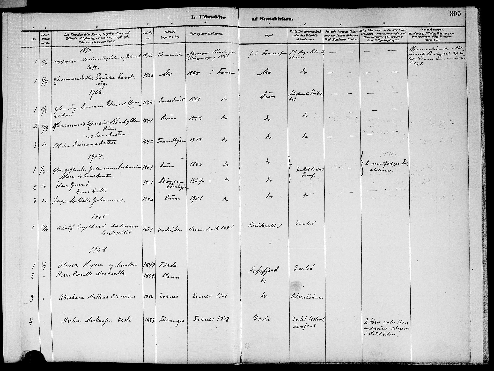 SAT, Ministerialprotokoller, klokkerbøker og fødselsregistre - Nord-Trøndelag, 773/L0617: Ministerialbok nr. 773A08, 1887-1910, s. 305