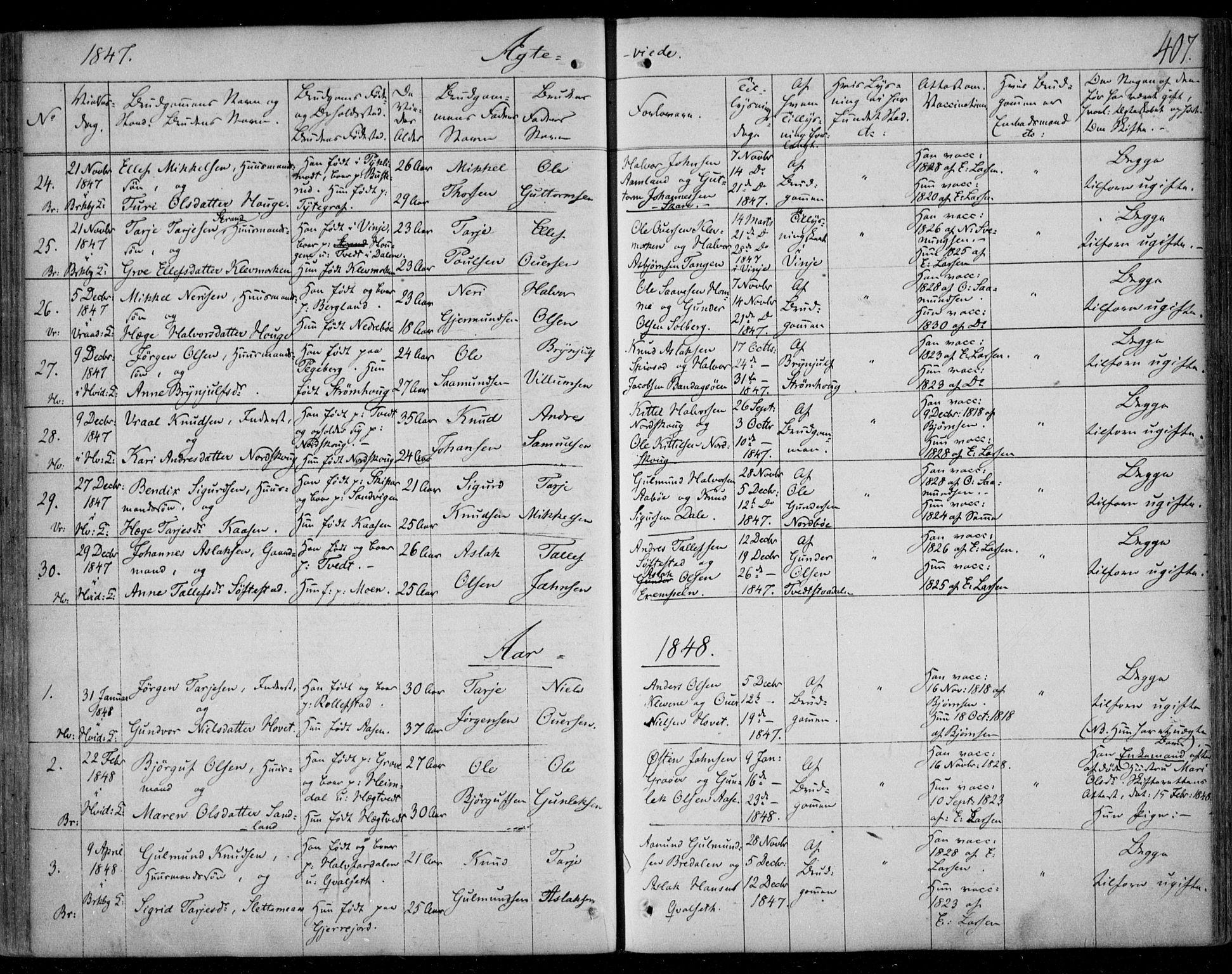 SAKO, Kviteseid kirkebøker, F/Fa/L0006: Ministerialbok nr. I 6, 1836-1858, s. 407