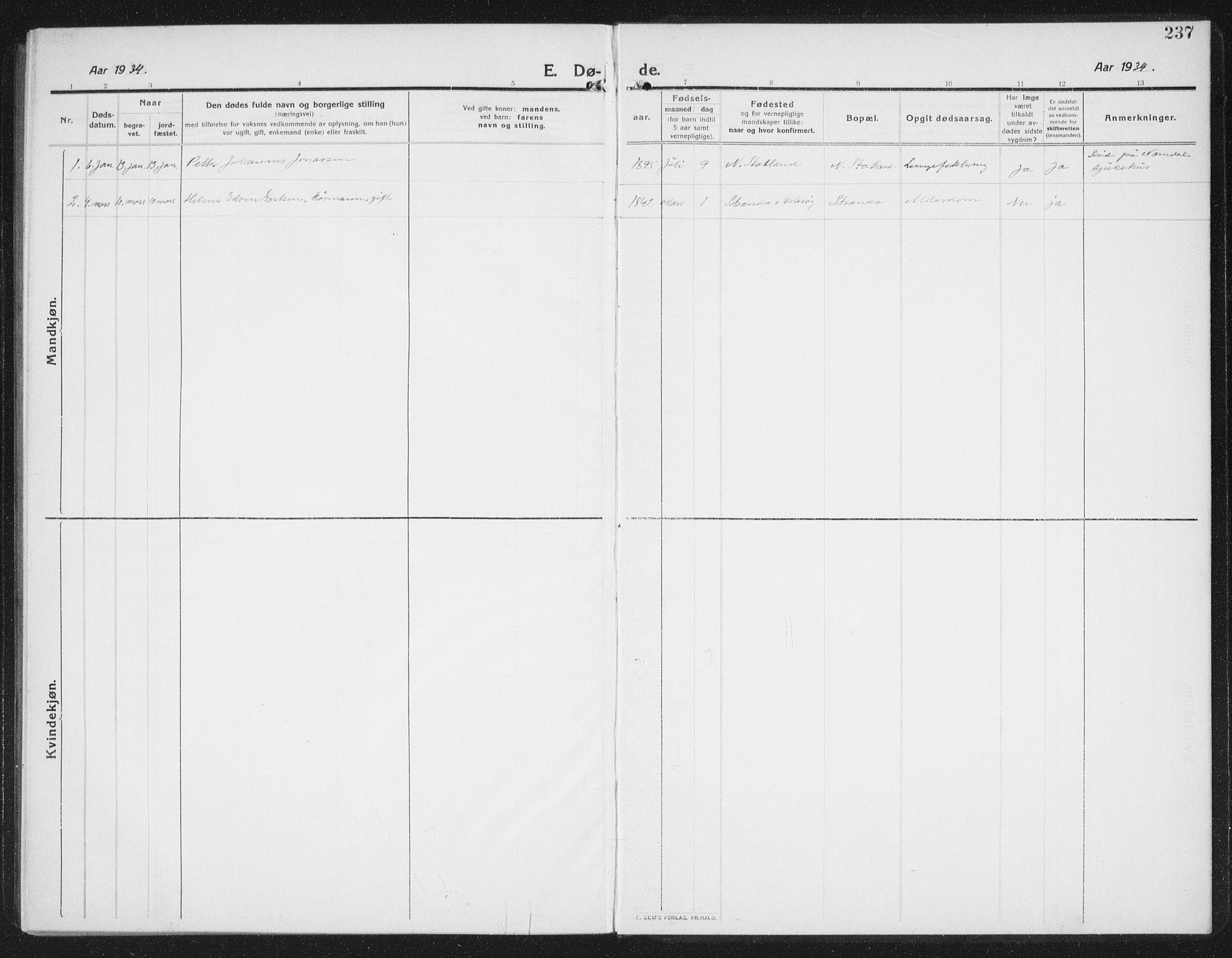 SAT, Ministerialprotokoller, klokkerbøker og fødselsregistre - Nord-Trøndelag, 774/L0630: Klokkerbok nr. 774C01, 1910-1934, s. 237